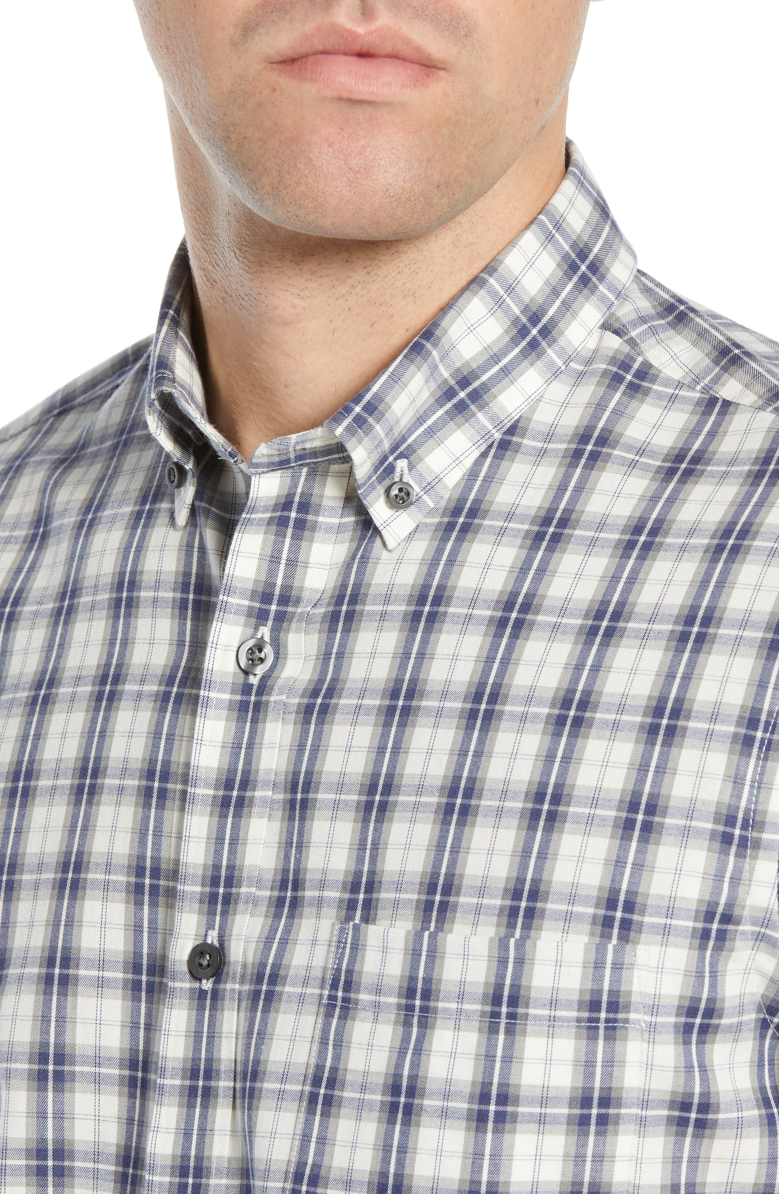 Slim Fit Plaid Sport Shirt,                             Alternate thumbnail 2, color,                             WHITE BLUE ENSIGN GREY PLAID