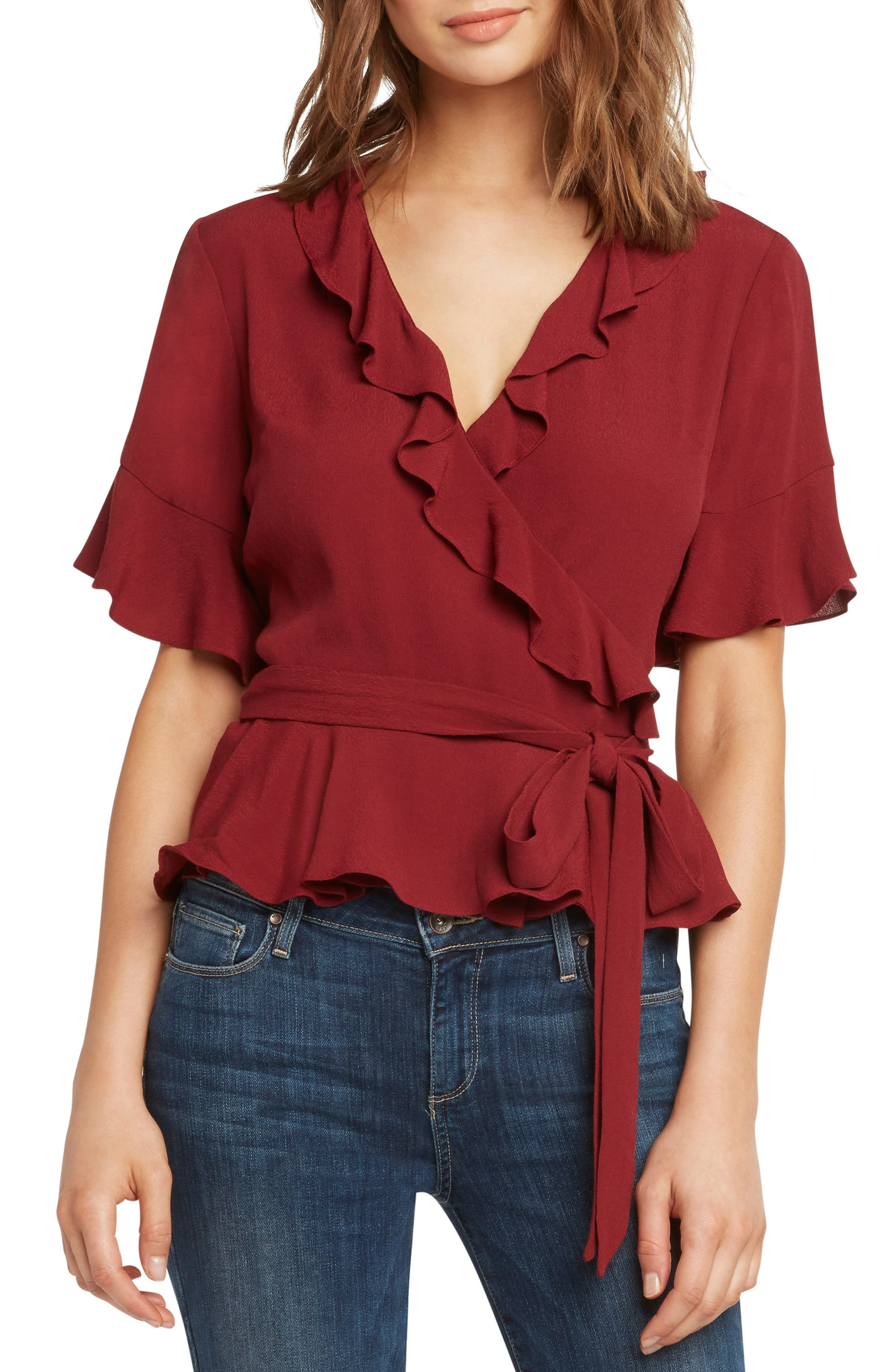 Vintage & Retro Shirts, Halter Tops, Blouses Womens Willow  Clay Ruffle Wrap Top $79.00 AT vintagedancer.com