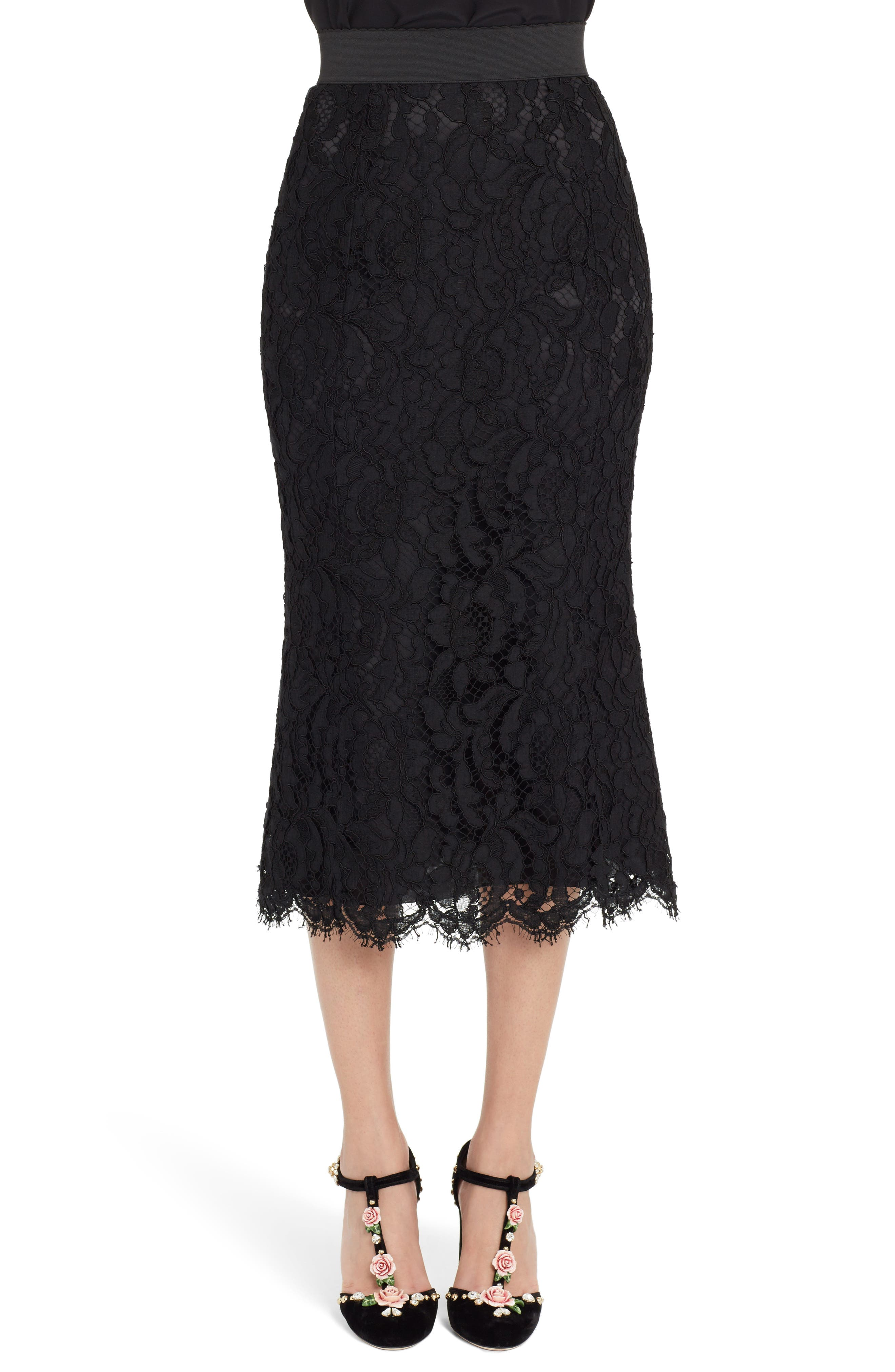 Lace Midi Skirt,                             Main thumbnail 1, color,                             BLACK