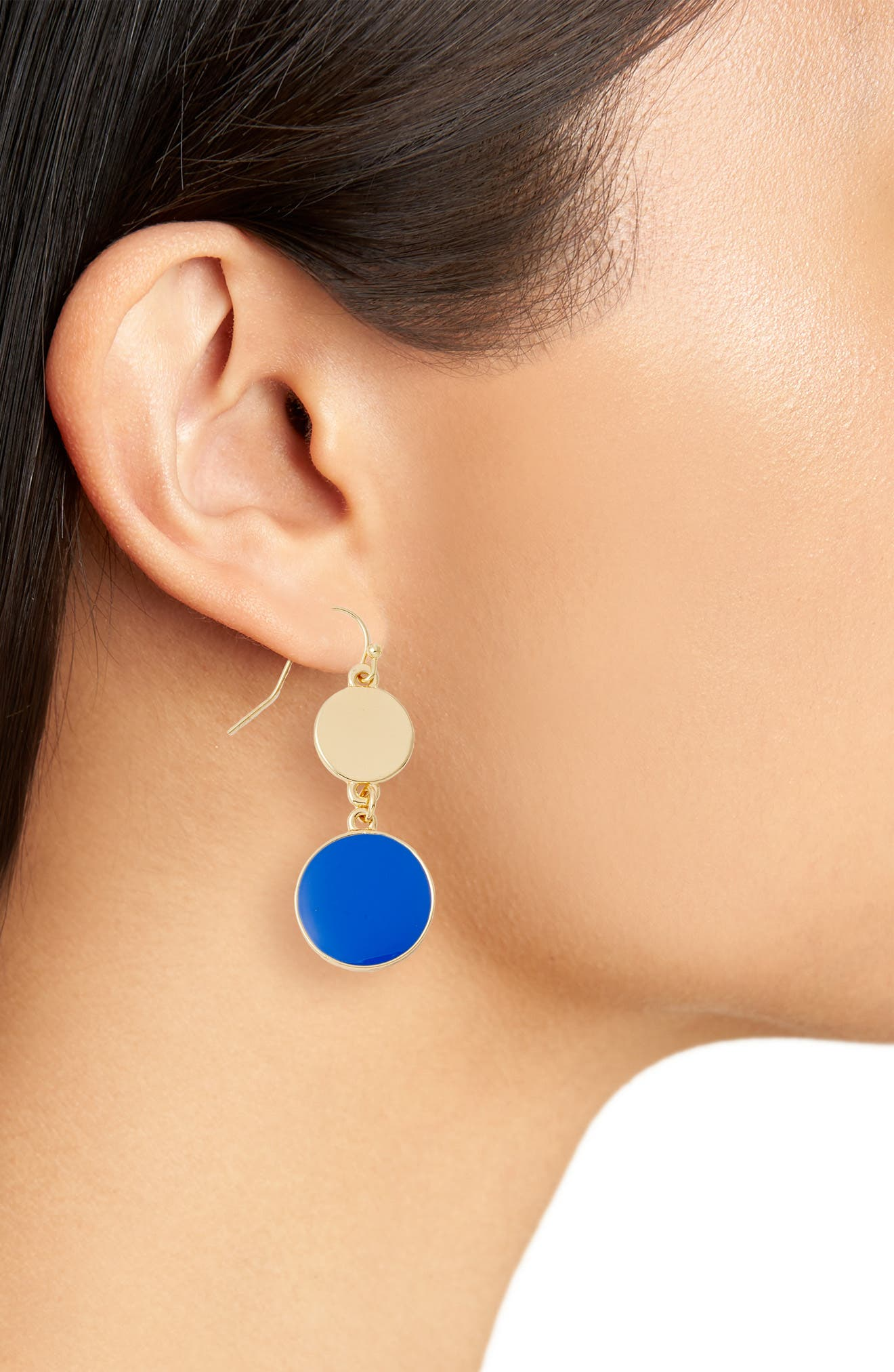 Double Disc Drop Earrings,                             Alternate thumbnail 3, color,