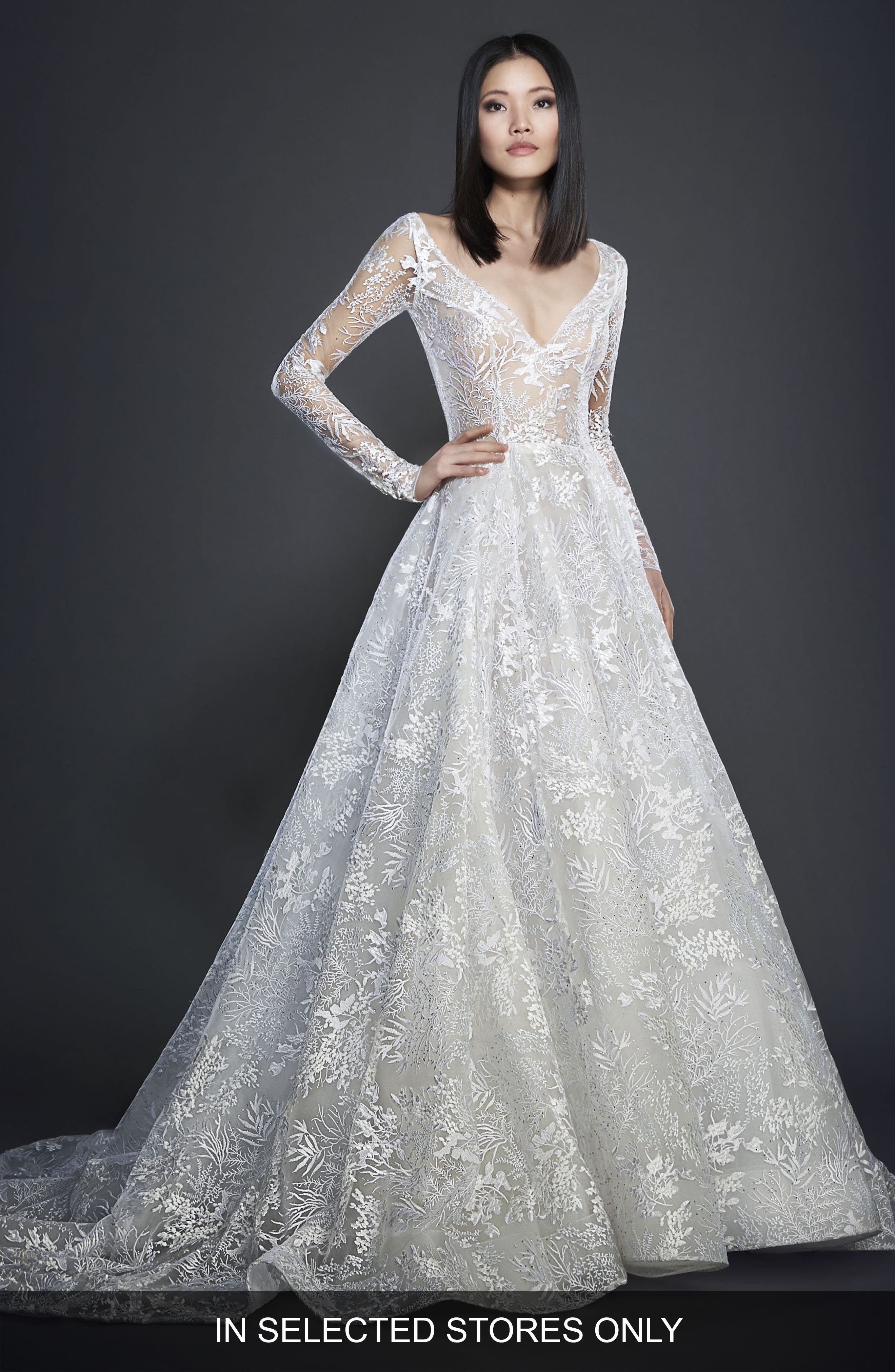 Embroidered Long Sleeve Ballgown,                         Main,                         color, CASHMERE