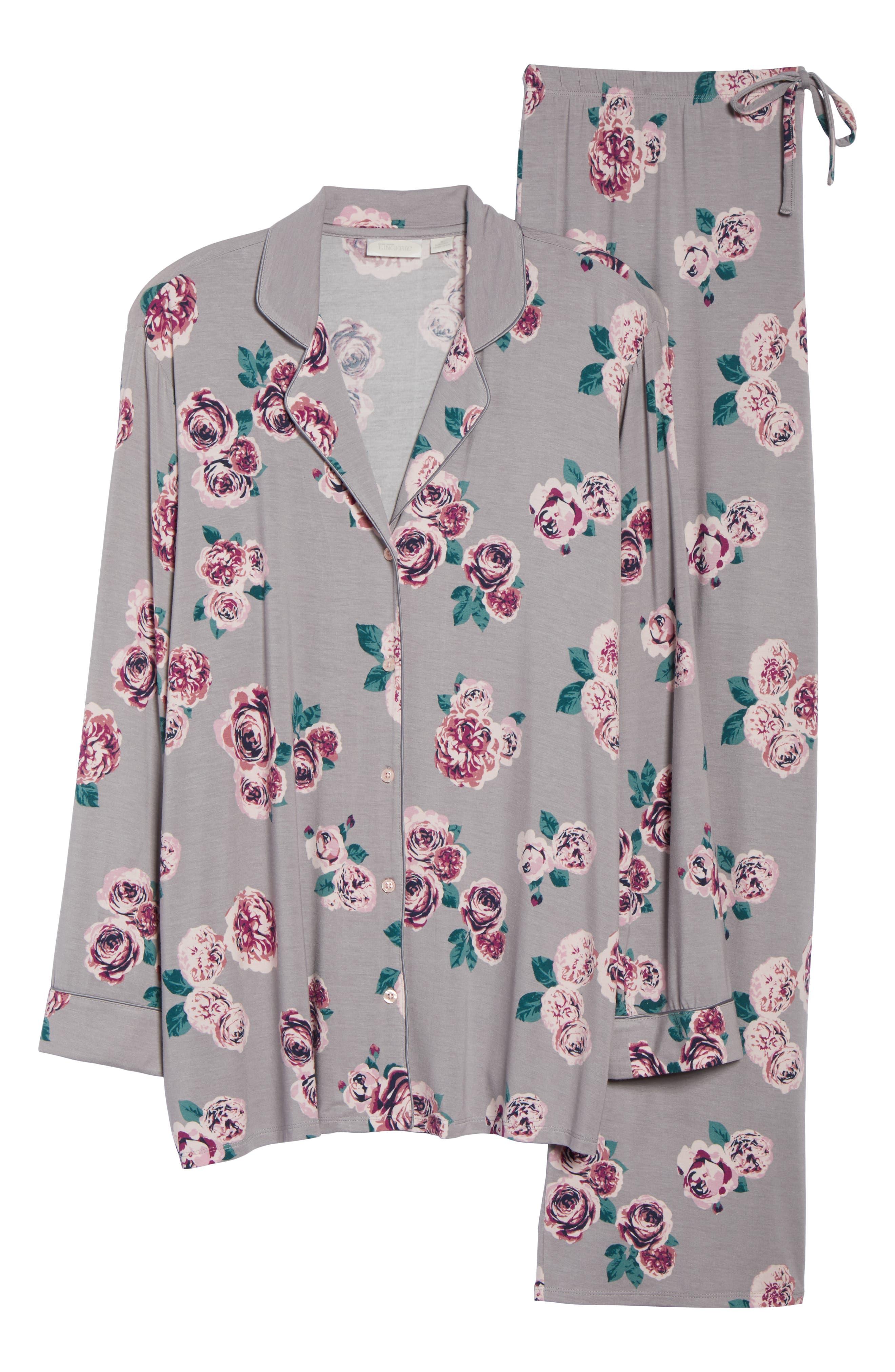 'Moonlight' Pajamas,                             Alternate thumbnail 6, color,                             GREY GULL HOLIDAY ROSE