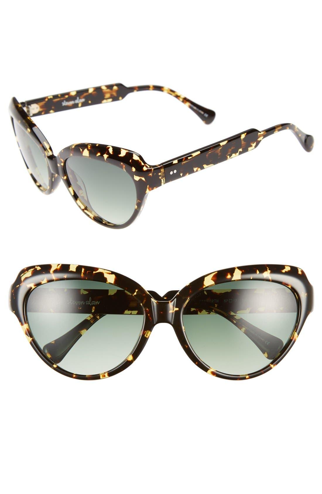 'Hayworth' 57mm Cat Eye Sunglasses,                             Main thumbnail 1, color,                             200