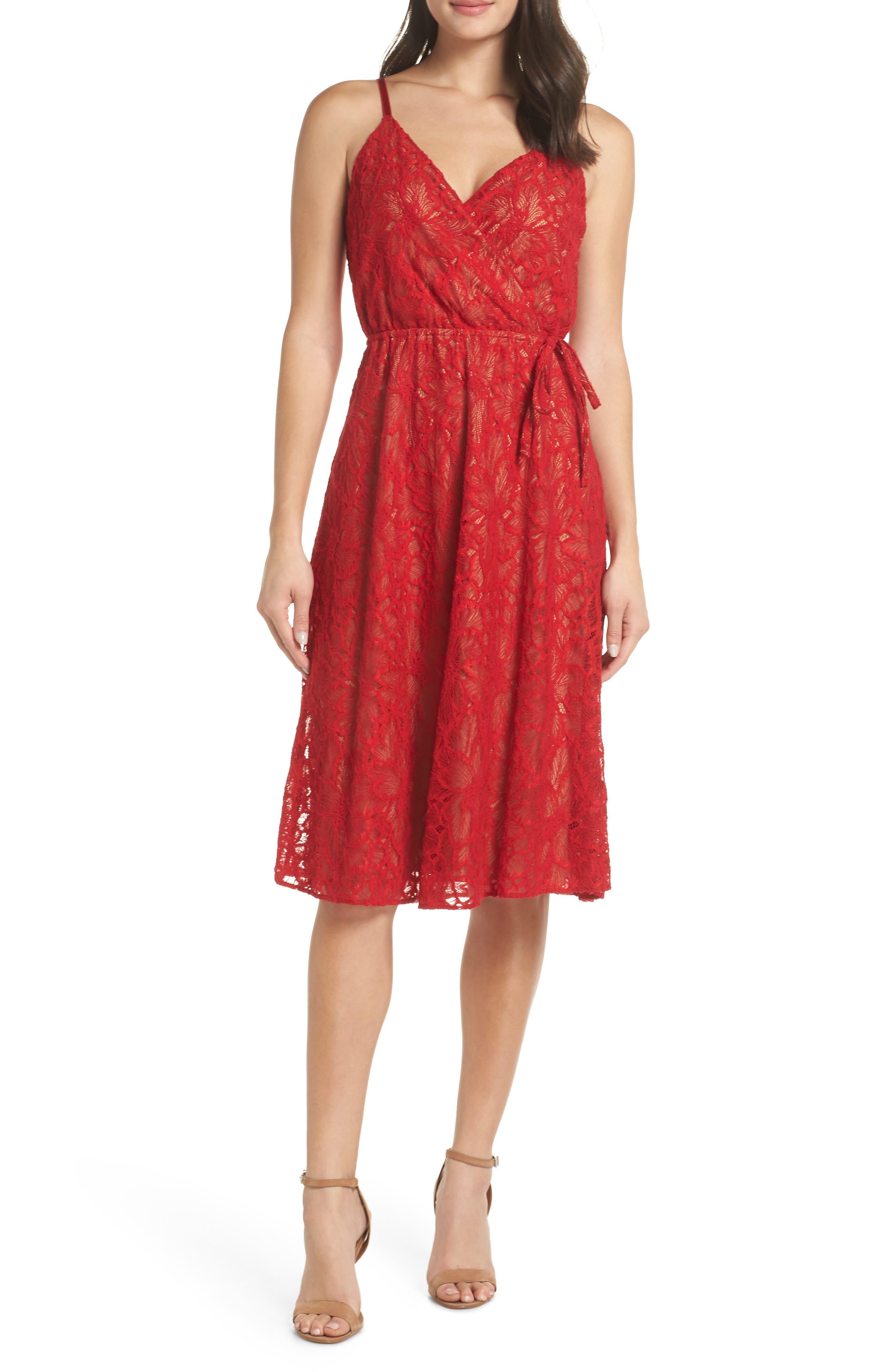 ALI & JAY Cheek to Cheek Lace Midi Dress, Main, color, SCARLET