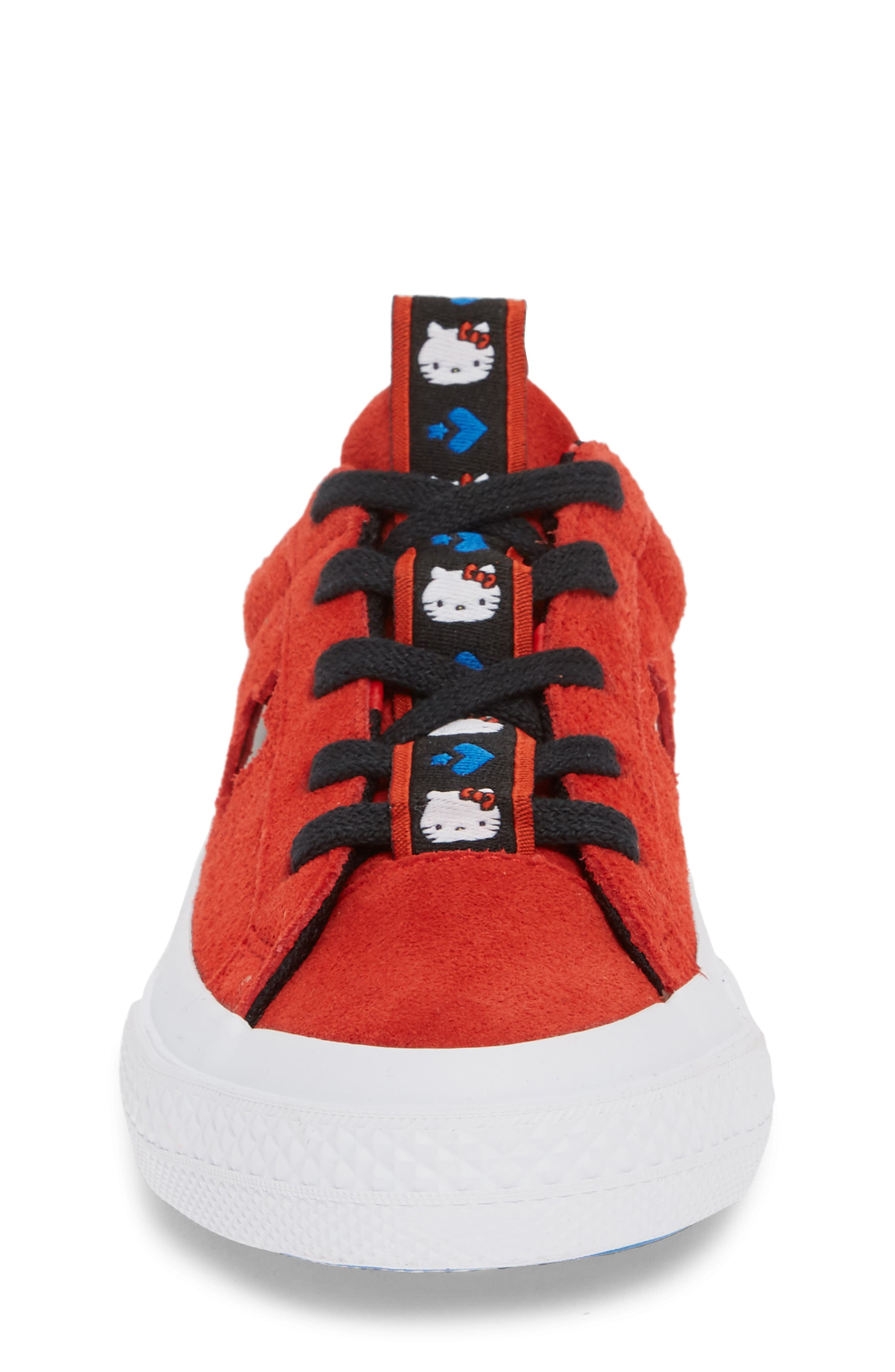 x Hello Kitty<sup>®</sup> One Star Low Top Sneaker,                             Alternate thumbnail 4, color,                             FIERY RED SUEDE