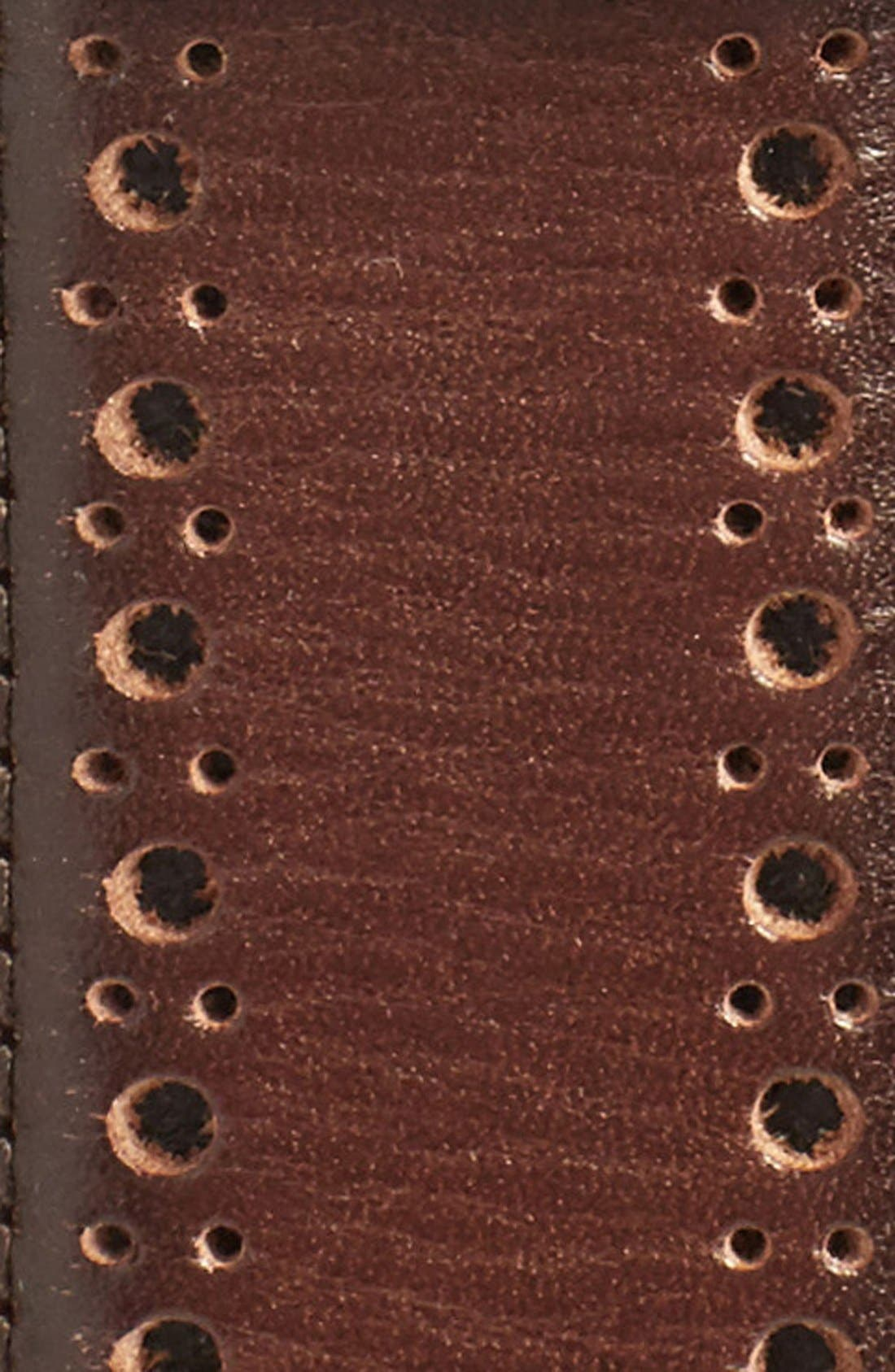 Perforated Leather Belt,                             Alternate thumbnail 3, color,                             MAHOGANY