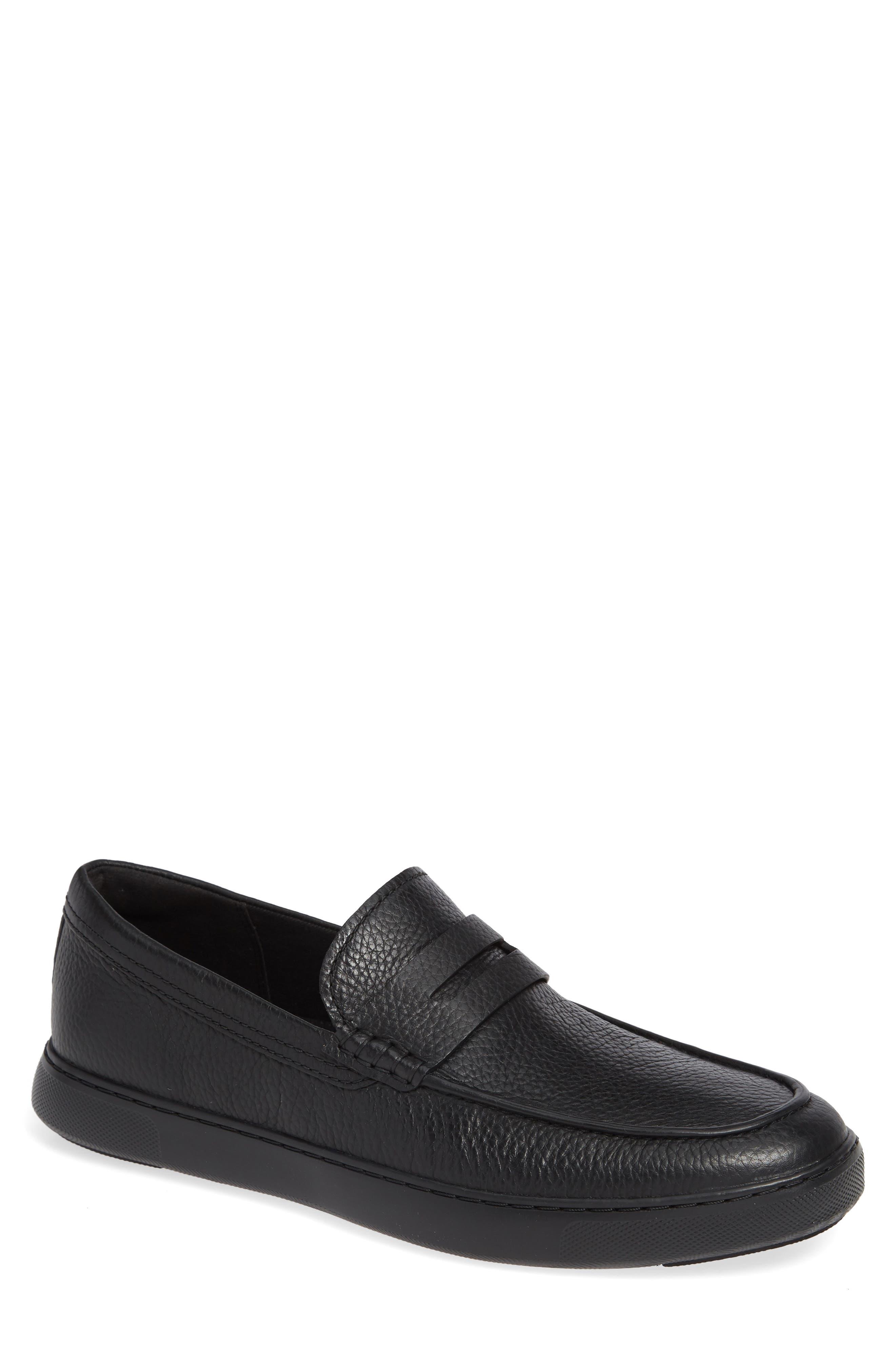 Boston Moc Toe Penny Loafer,                         Main,                         color, BLACK