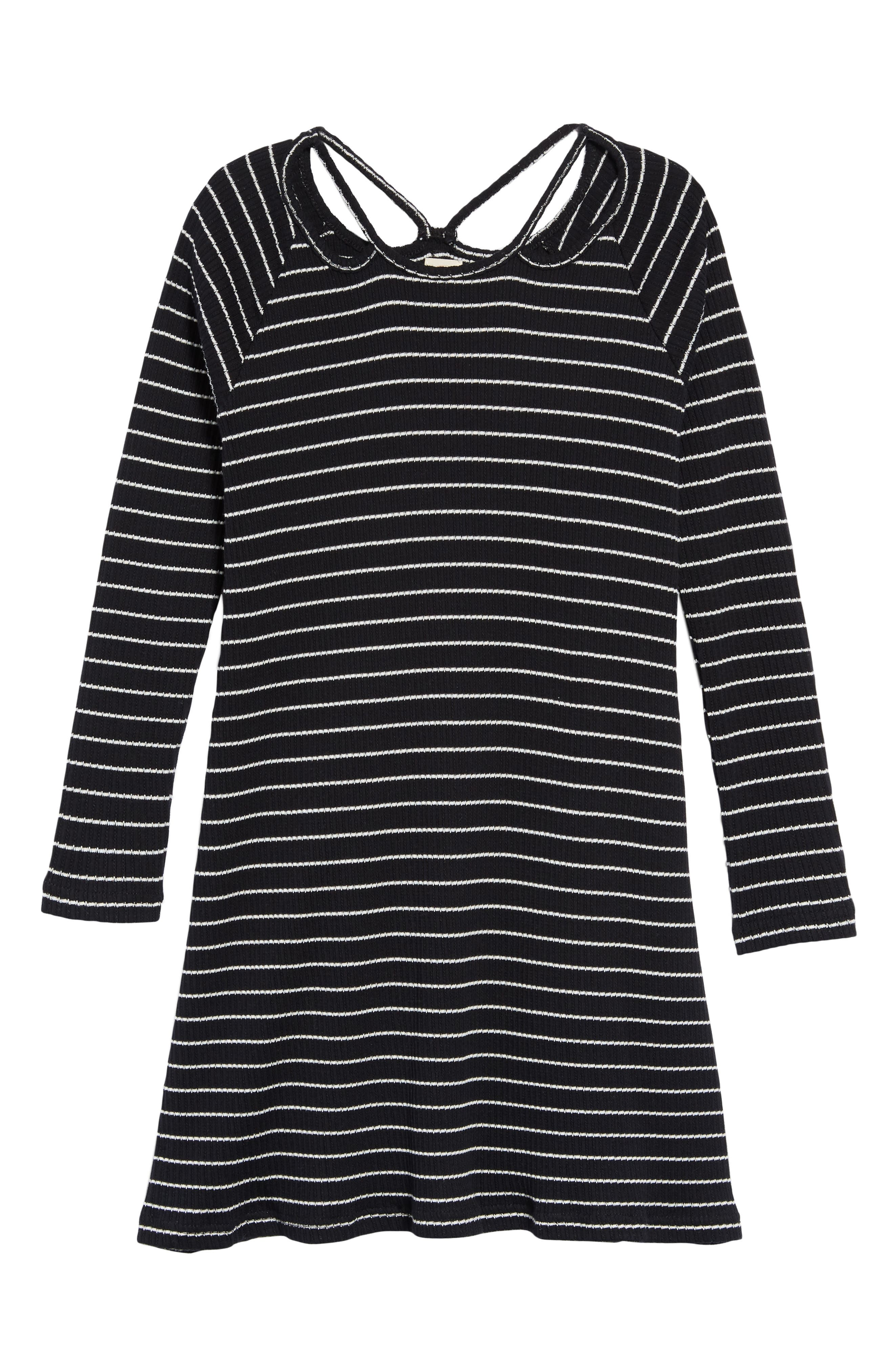 Millie Stripe Knit Dress,                             Main thumbnail 1, color,                             BLACK
