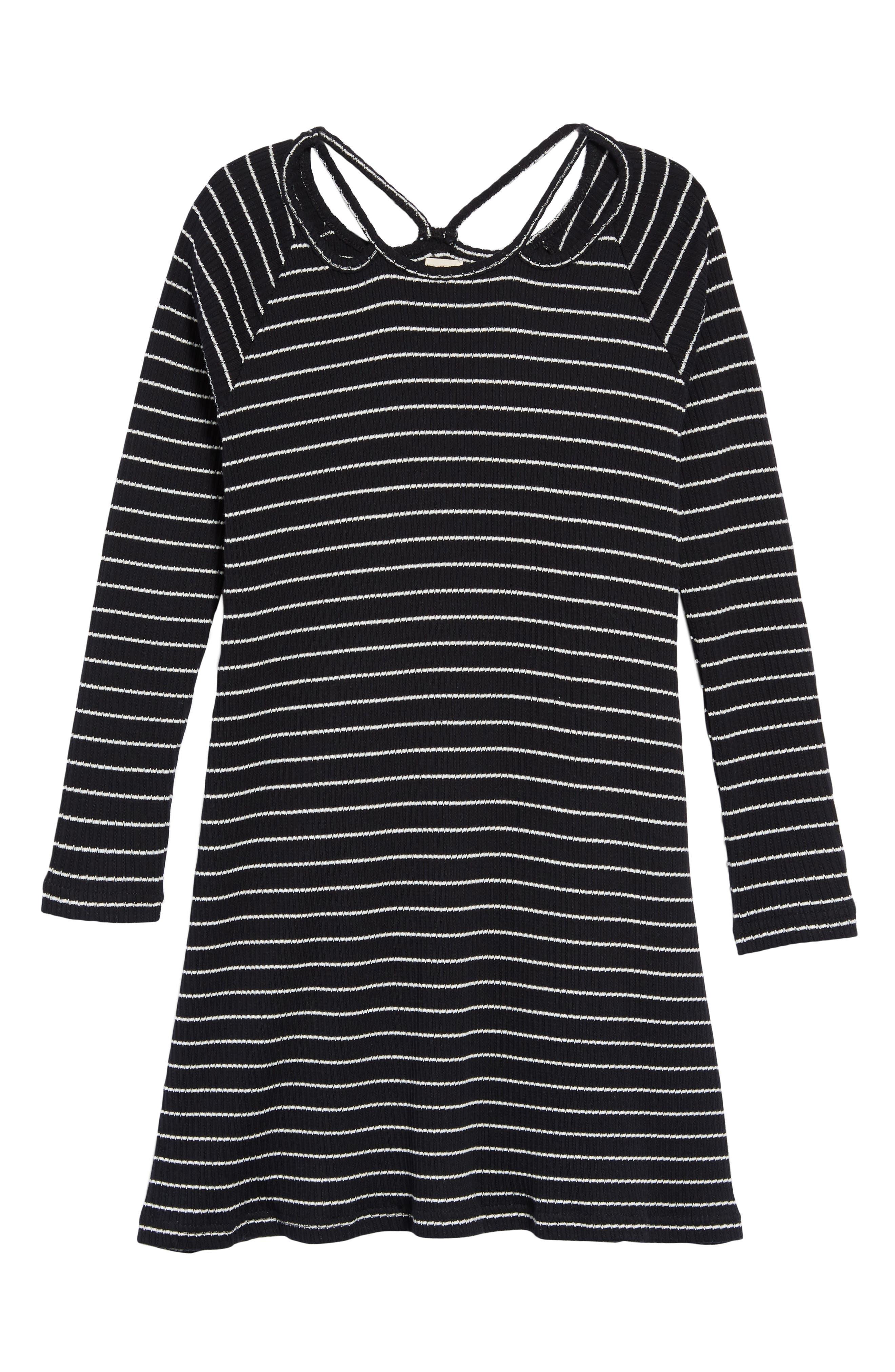 Millie Stripe Knit Dress, Main, color, BLACK