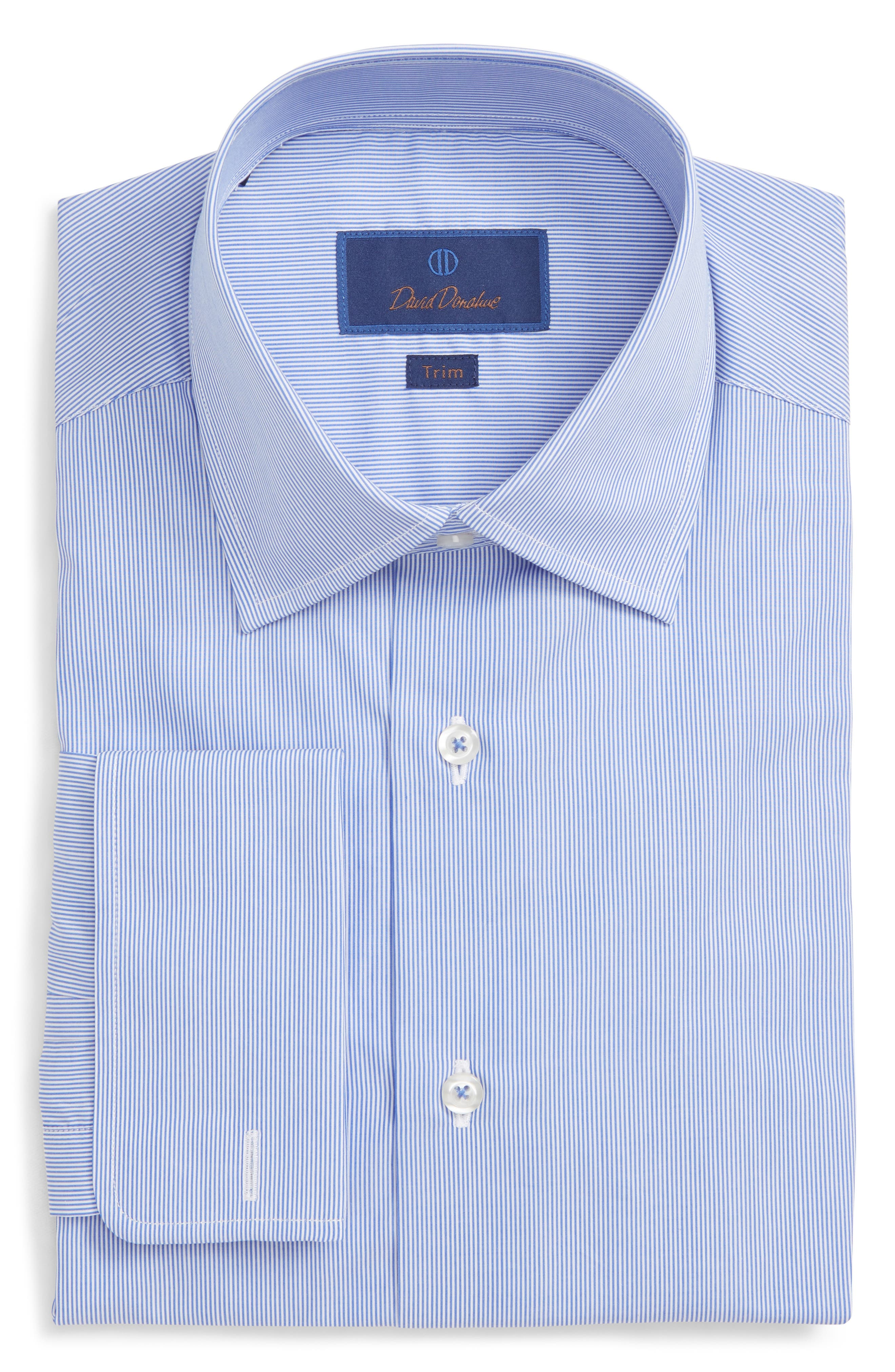 Trim Fit Stripe Dress Shirt,                             Main thumbnail 1, color,                             WHITE/ BLUE