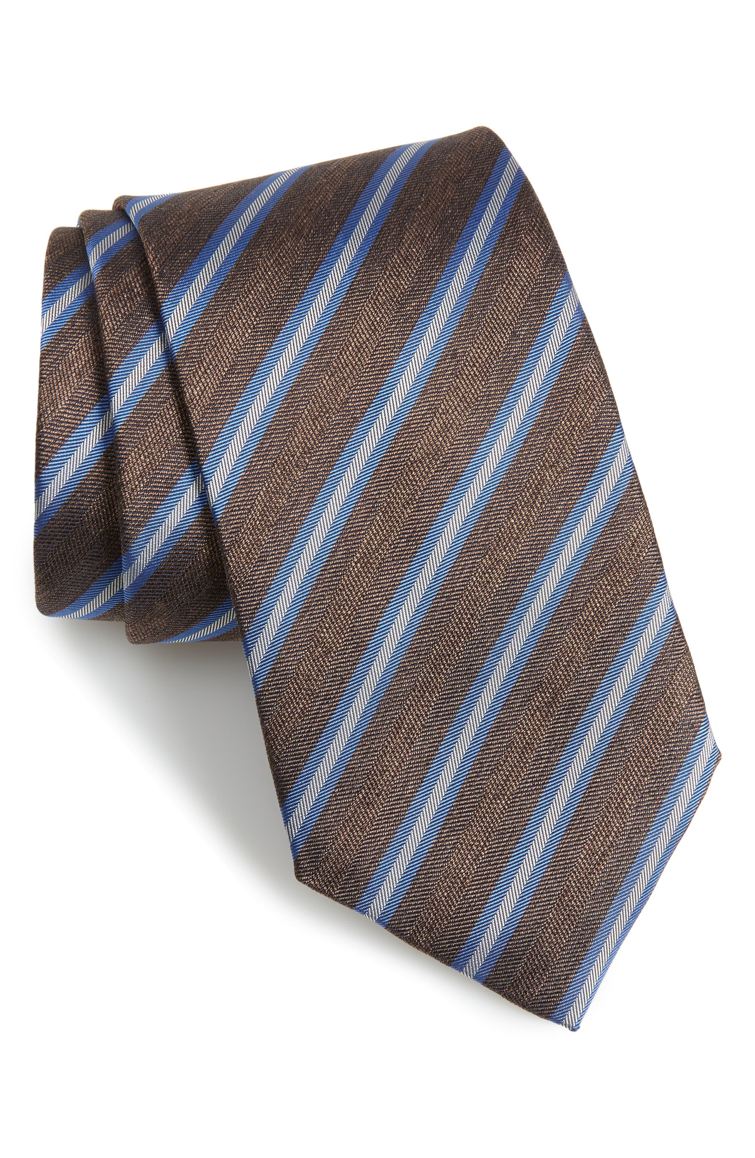 Stripe Linen & Silk X-Long Tie,                         Main,                         color, CHOCOLATE