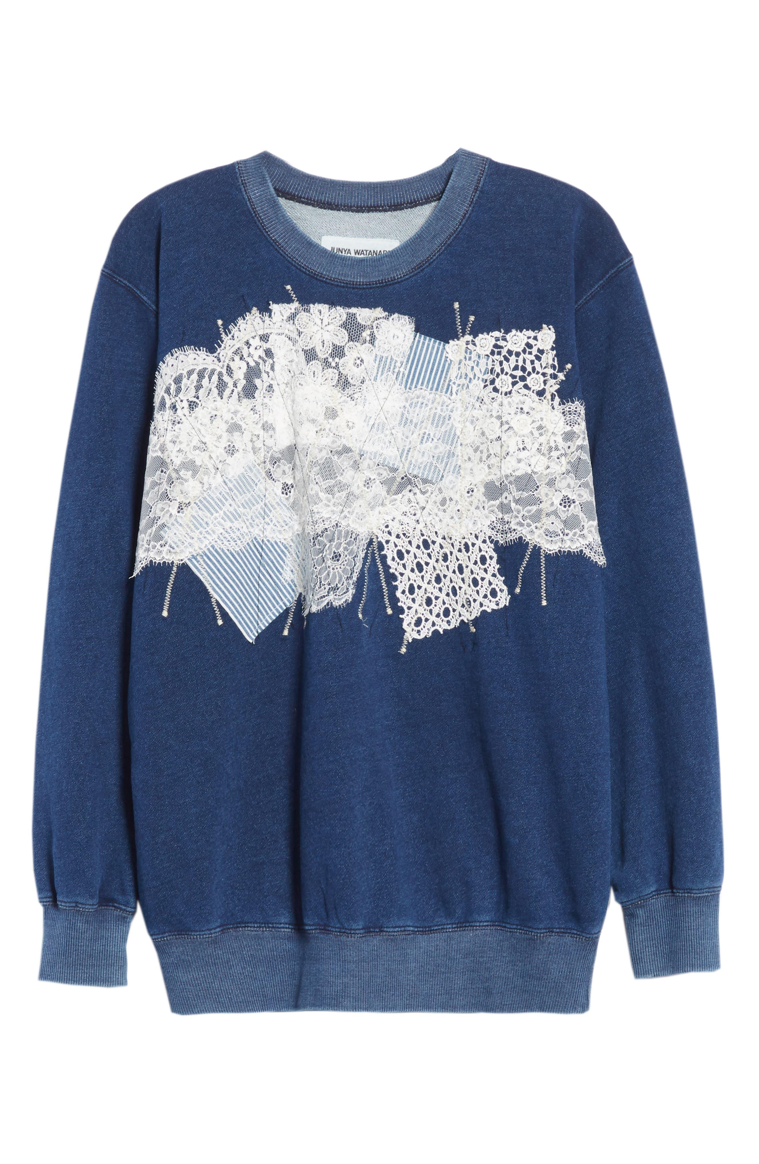 Lace Patch Sweatshirt,                             Alternate thumbnail 6, color,                             400