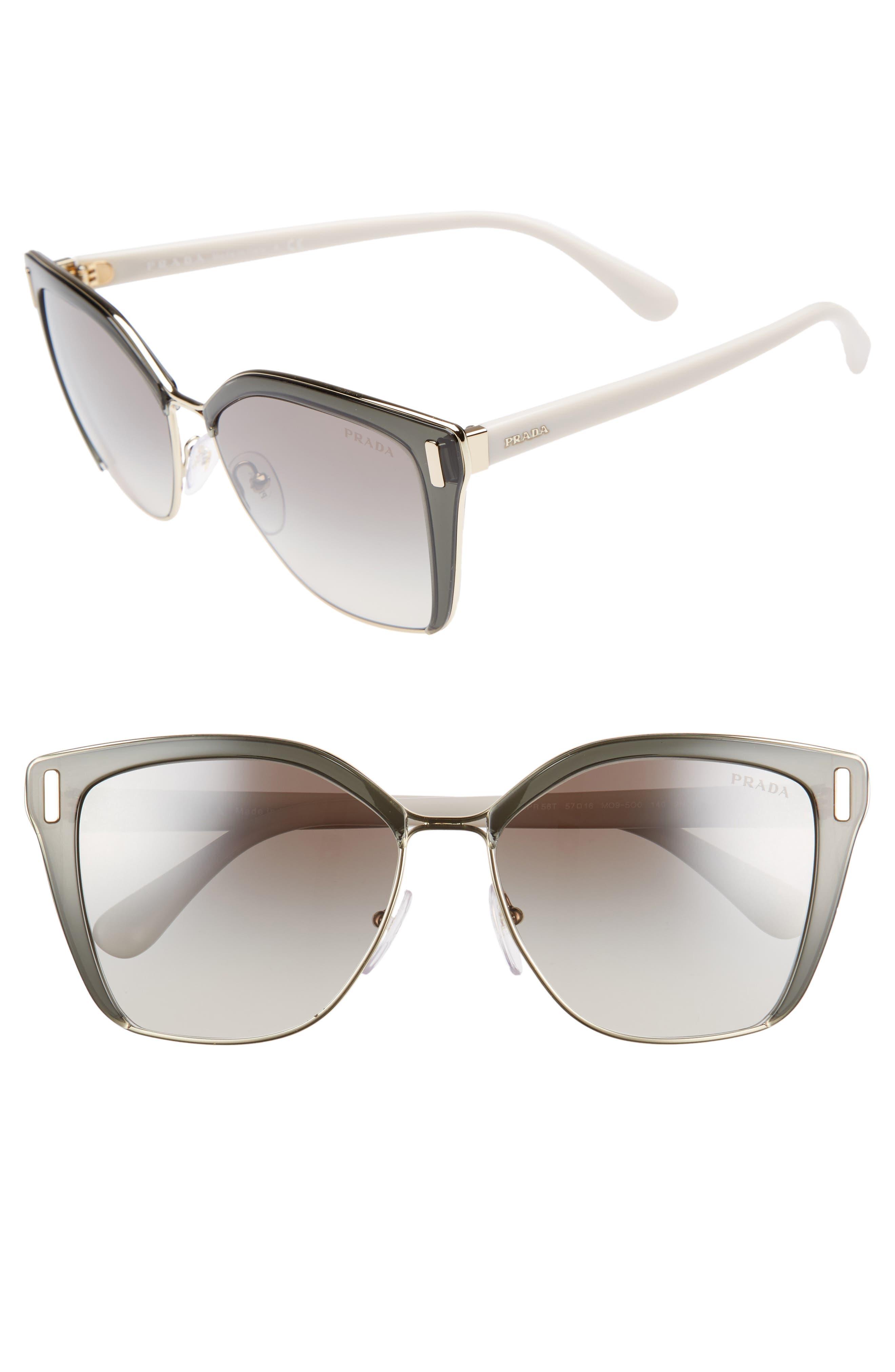 54mm Gradient Geometric Sunglasses,                             Main thumbnail 1, color,                             GREY/ GOLD GRADIENT MIRROR