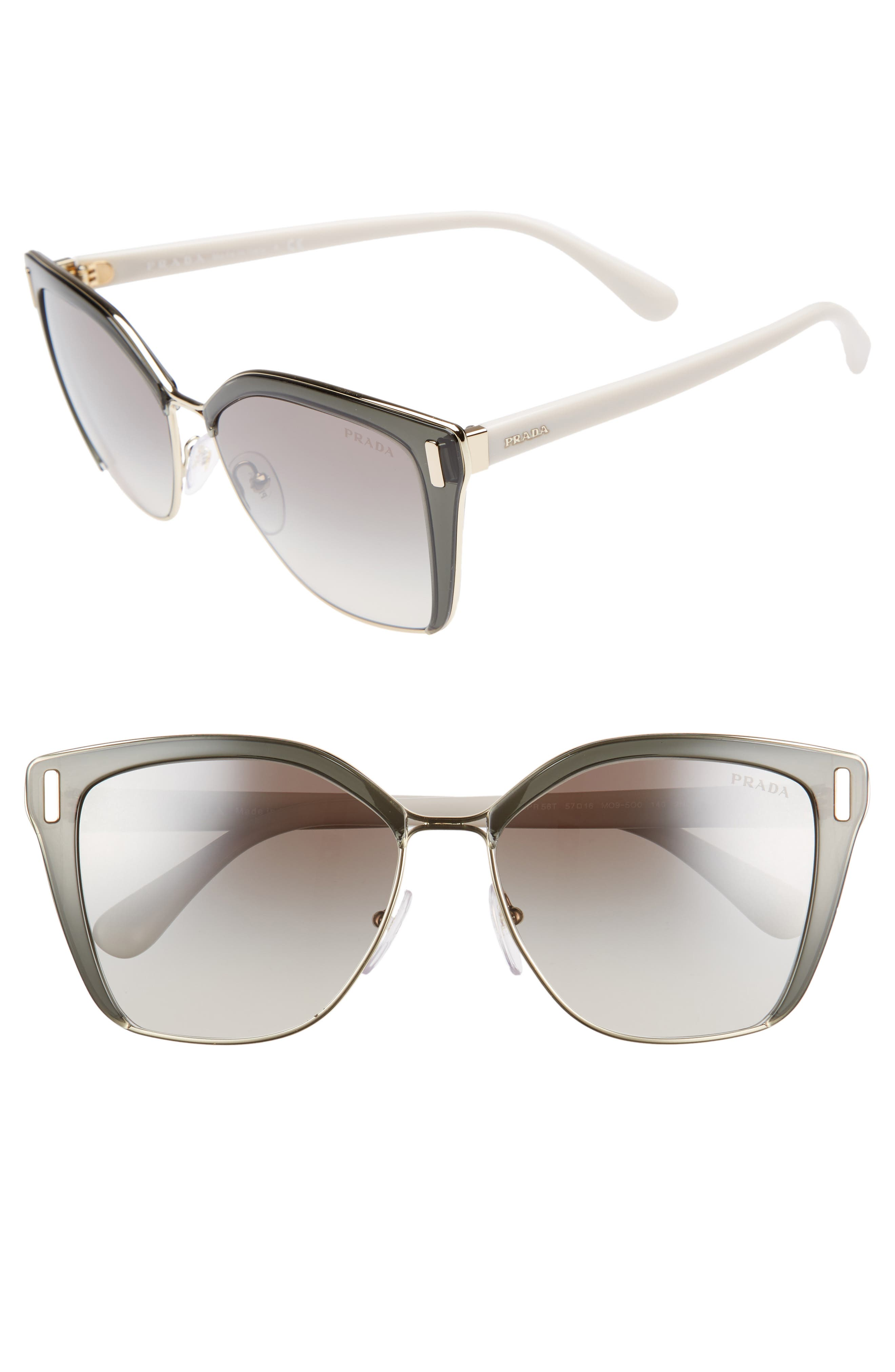 54mm Gradient Geometric Sunglasses,                         Main,                         color, GREY/ GOLD GRADIENT MIRROR