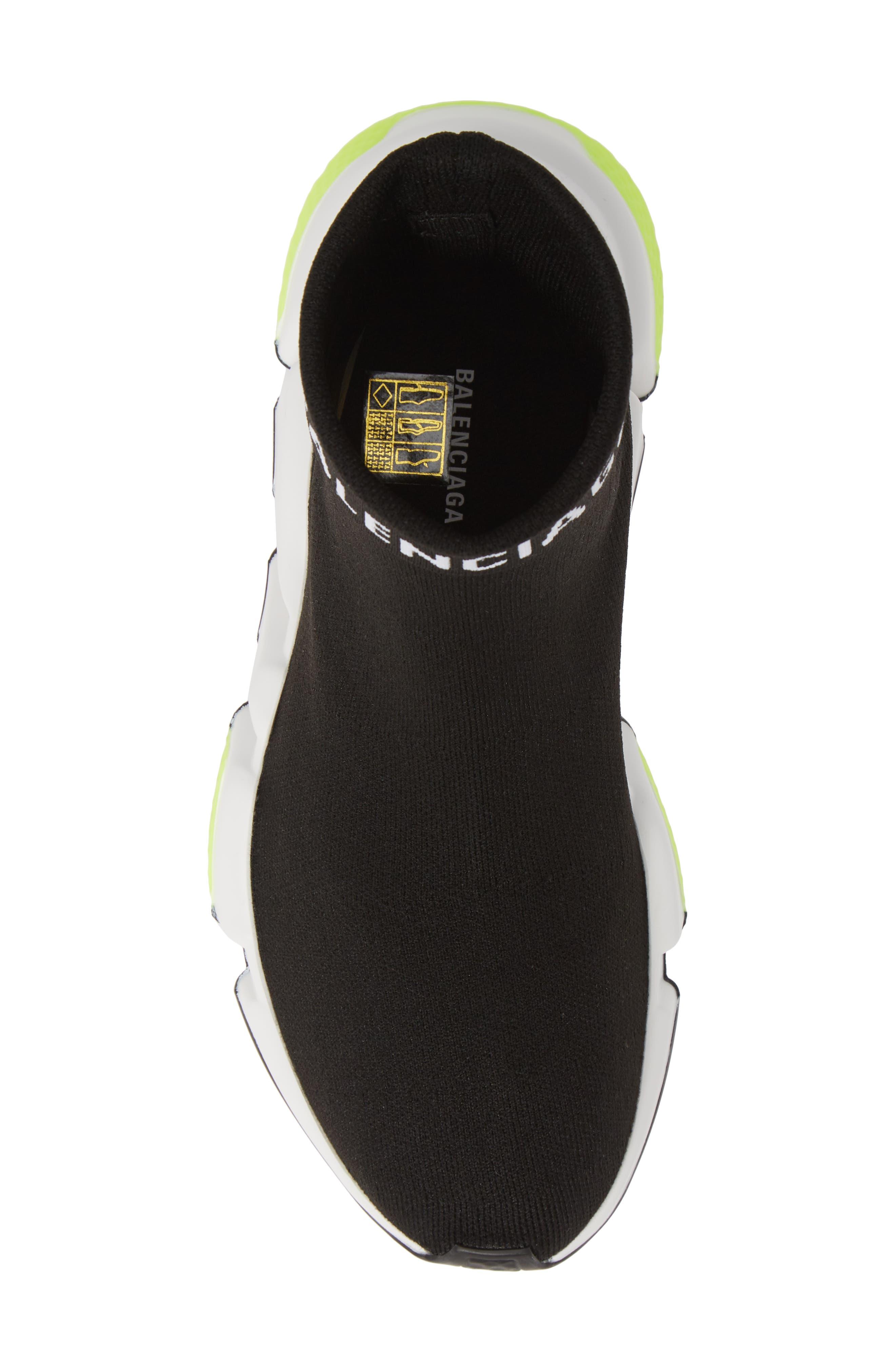 Hi Speed Logo Sock Sneaker,                             Alternate thumbnail 5, color,                             BLACK/ WHITE/ NEON