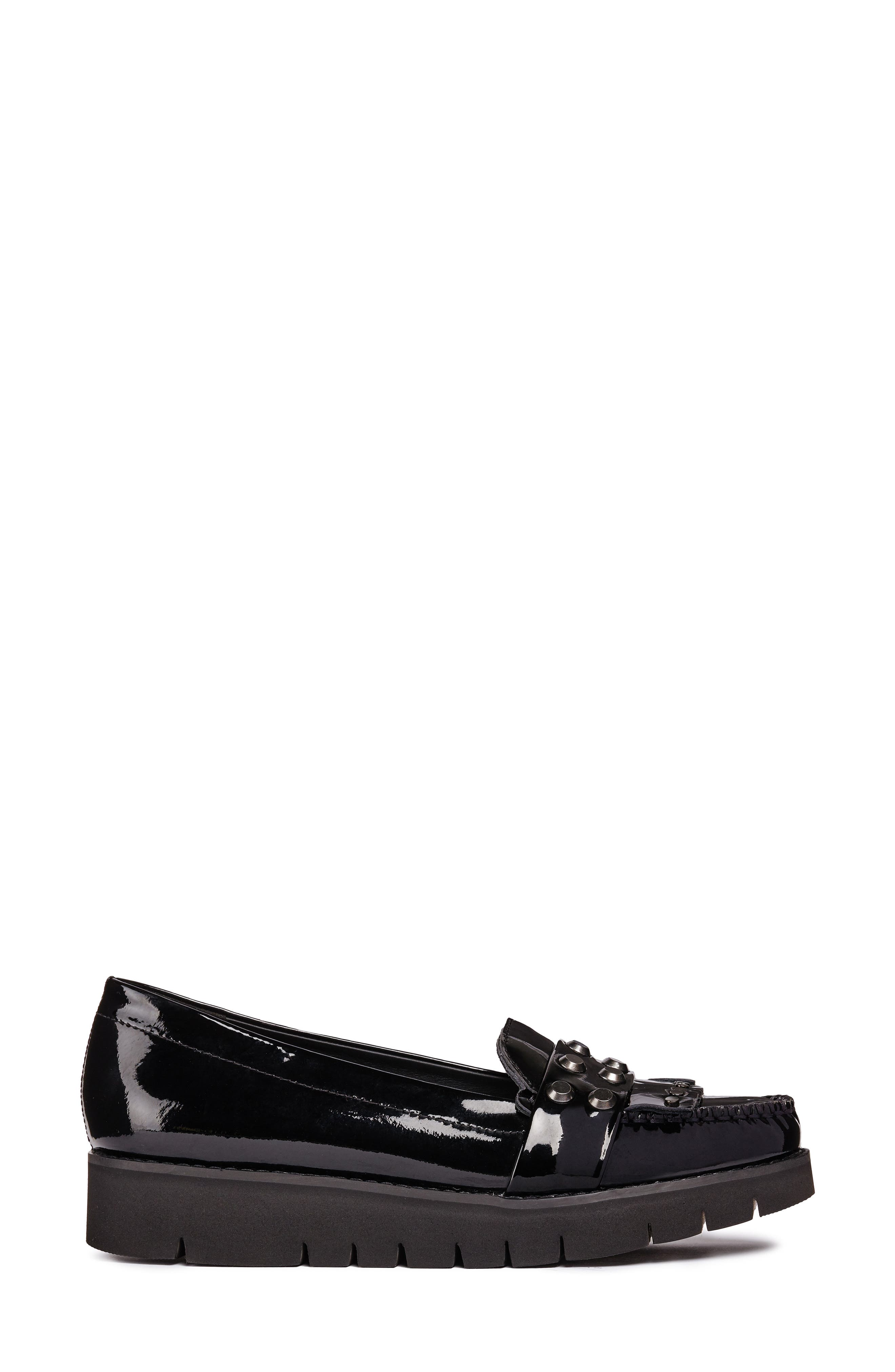 Blenda Studded Kiltie Loafer,                             Alternate thumbnail 3, color,                             BLACK LEATHER