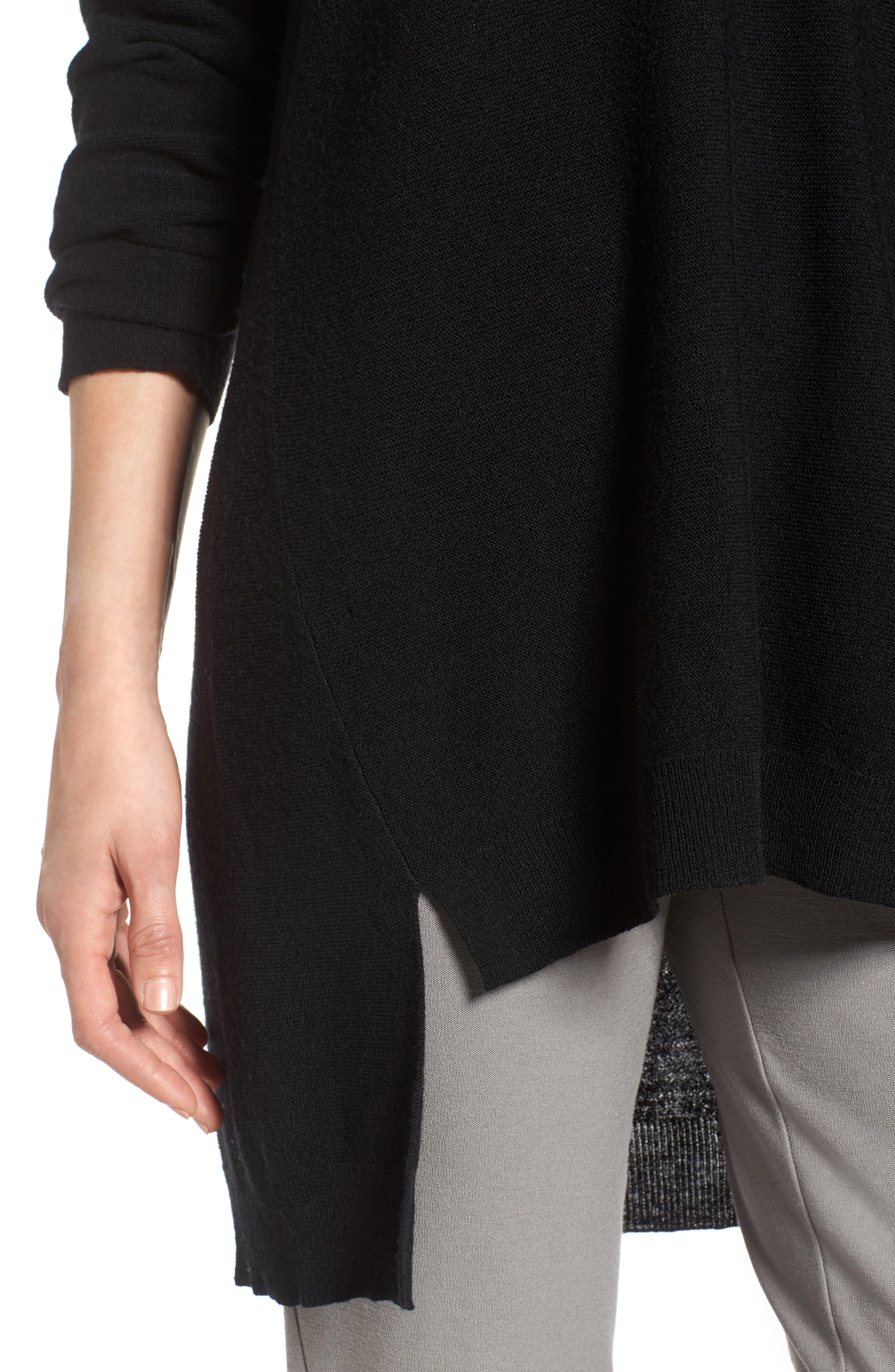 High/Low Merino Wool Sweater,                             Alternate thumbnail 4, color,                             001