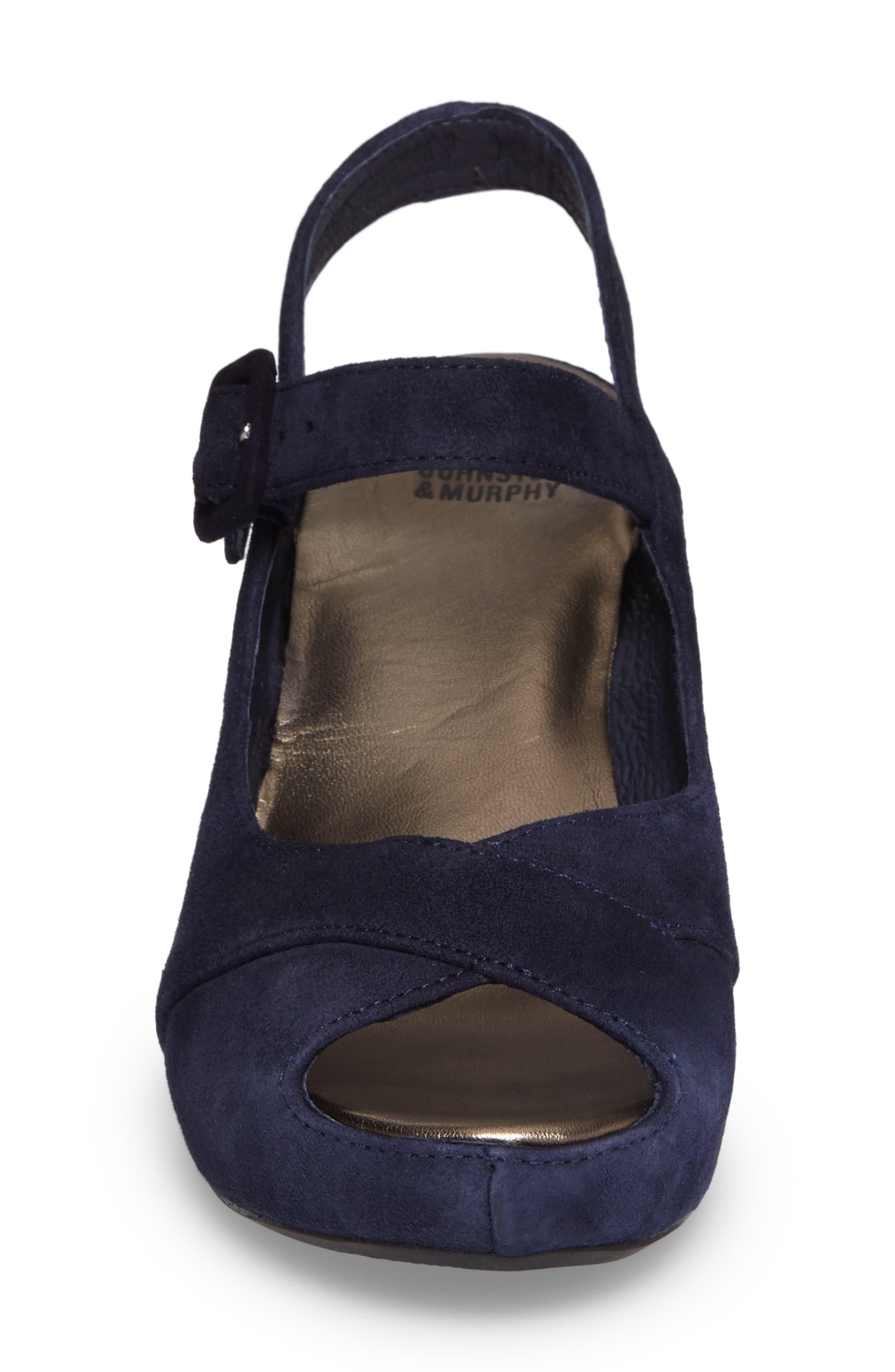 Tara Platform Wedge Sandal,                             Alternate thumbnail 4, color,                             NAVY SUEDE