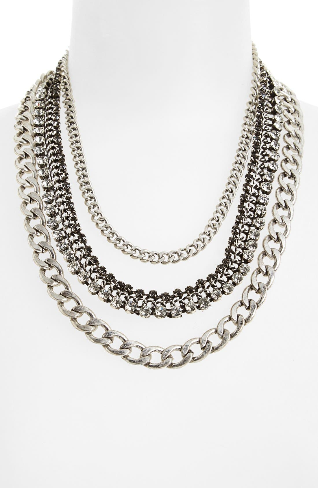 Crystal Multi Chain Necklace,                             Alternate thumbnail 2, color,                             041