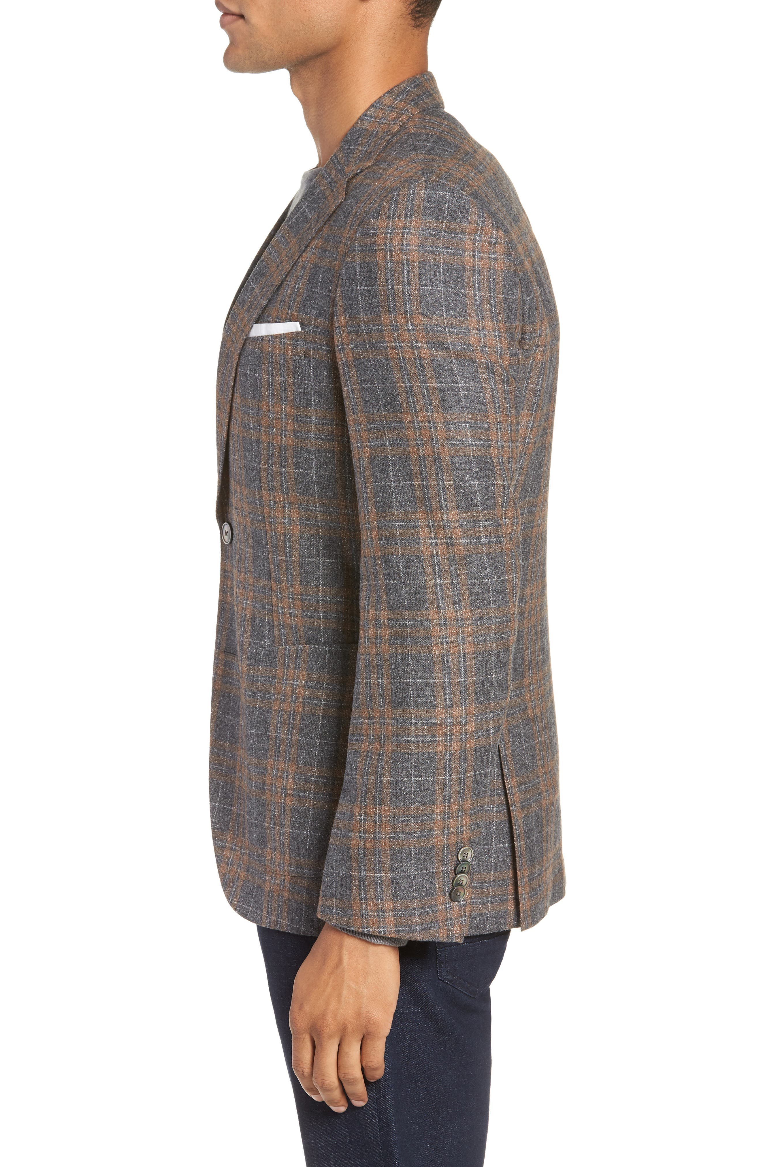 BOSS,                             Janson Classic Fit Plaid Wool Blend Sport Coat,                             Alternate thumbnail 3, color,                             MEDIUM GREY