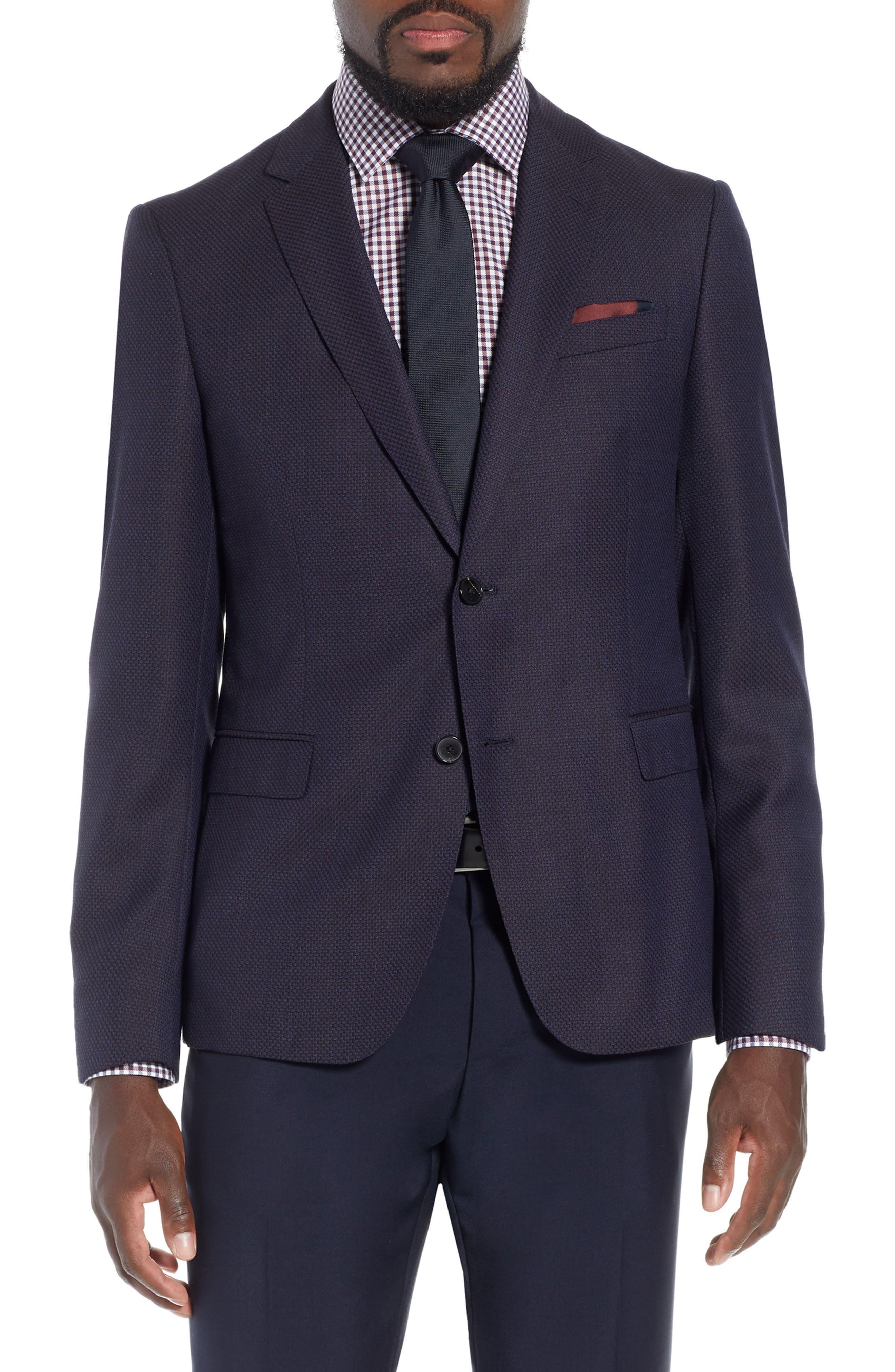 x Nordstrom Nobis Trim Fit Wool Blazer,                         Main,                         color, NAVY