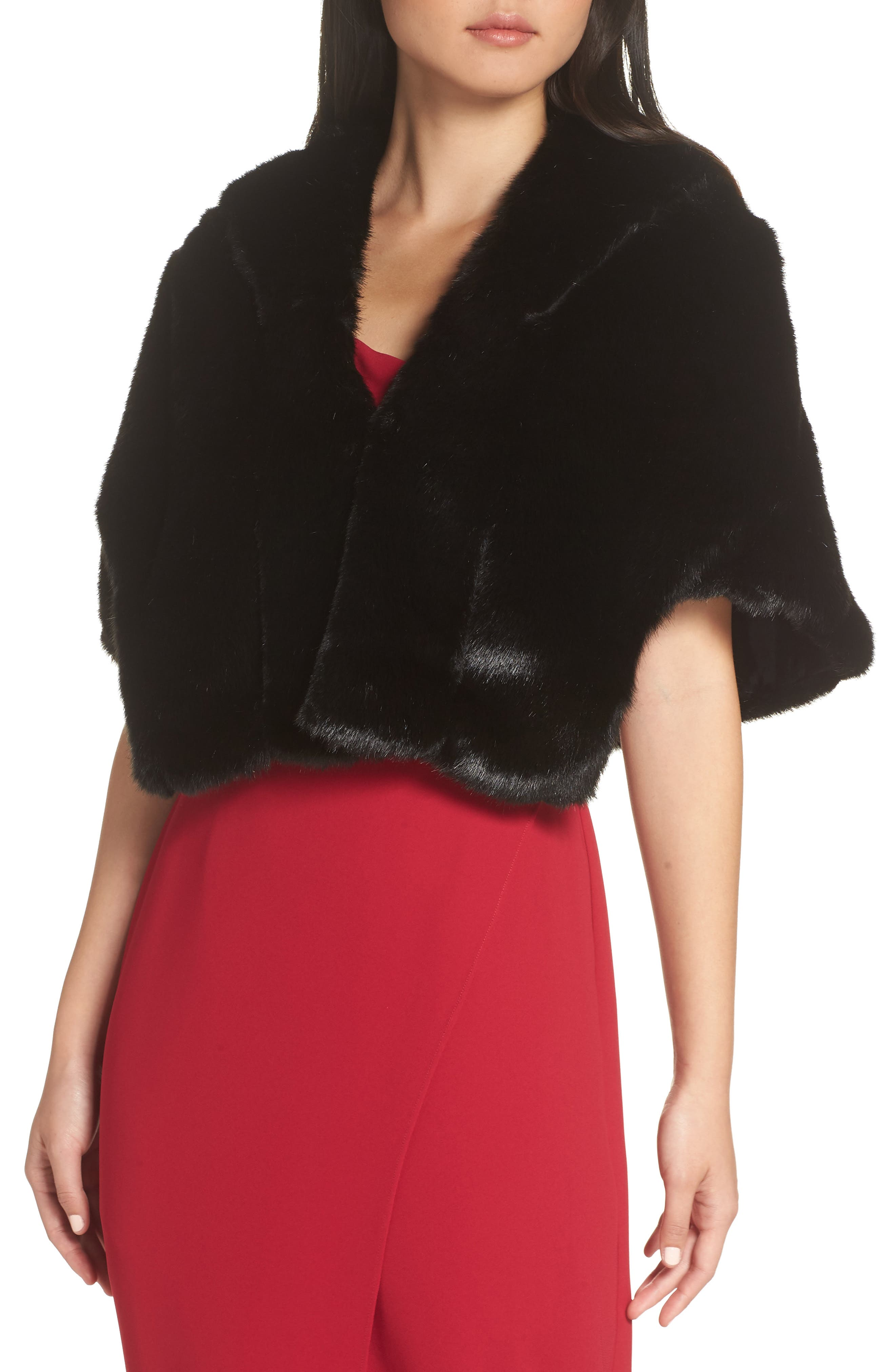 Faux Fur Capelet,                             Main thumbnail 1, color,                             BLACK