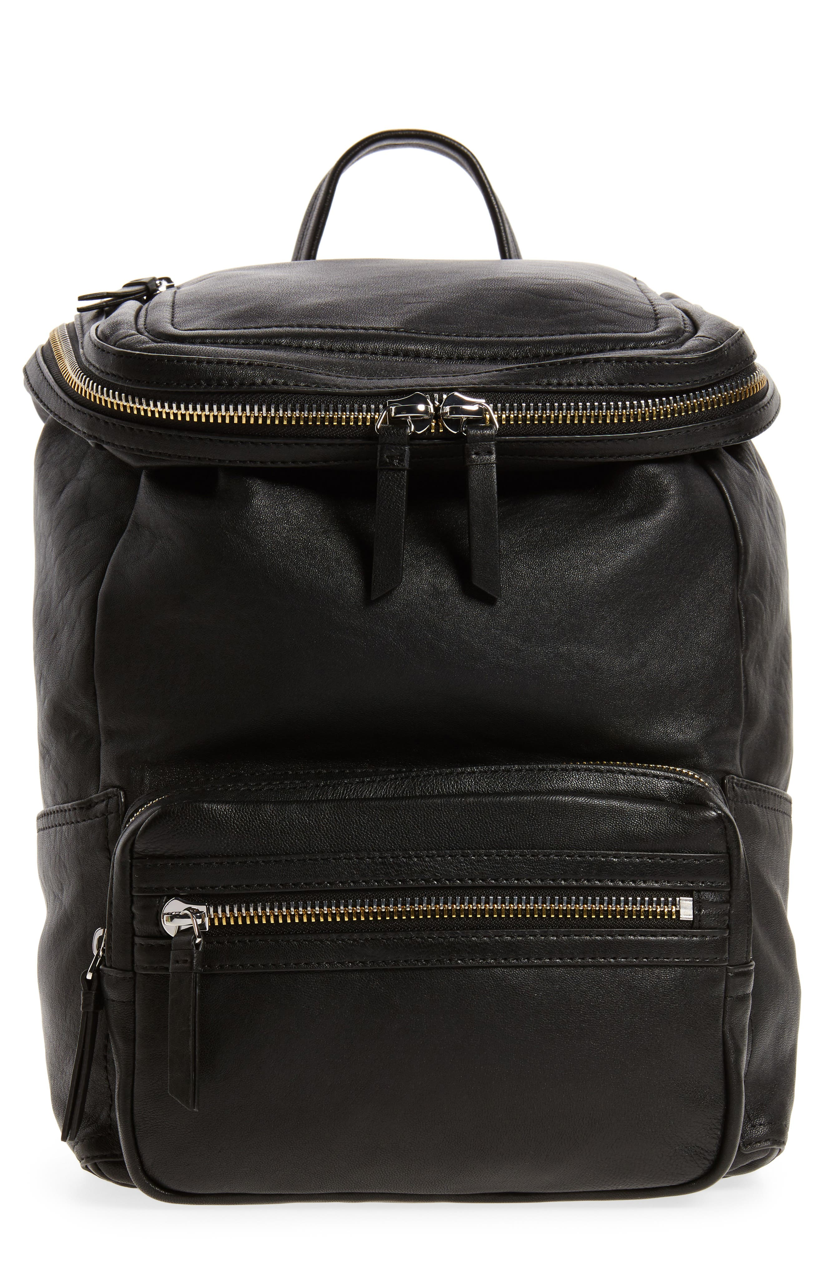 Patch Convertible Leather Backpack,                         Main,                         color, 002