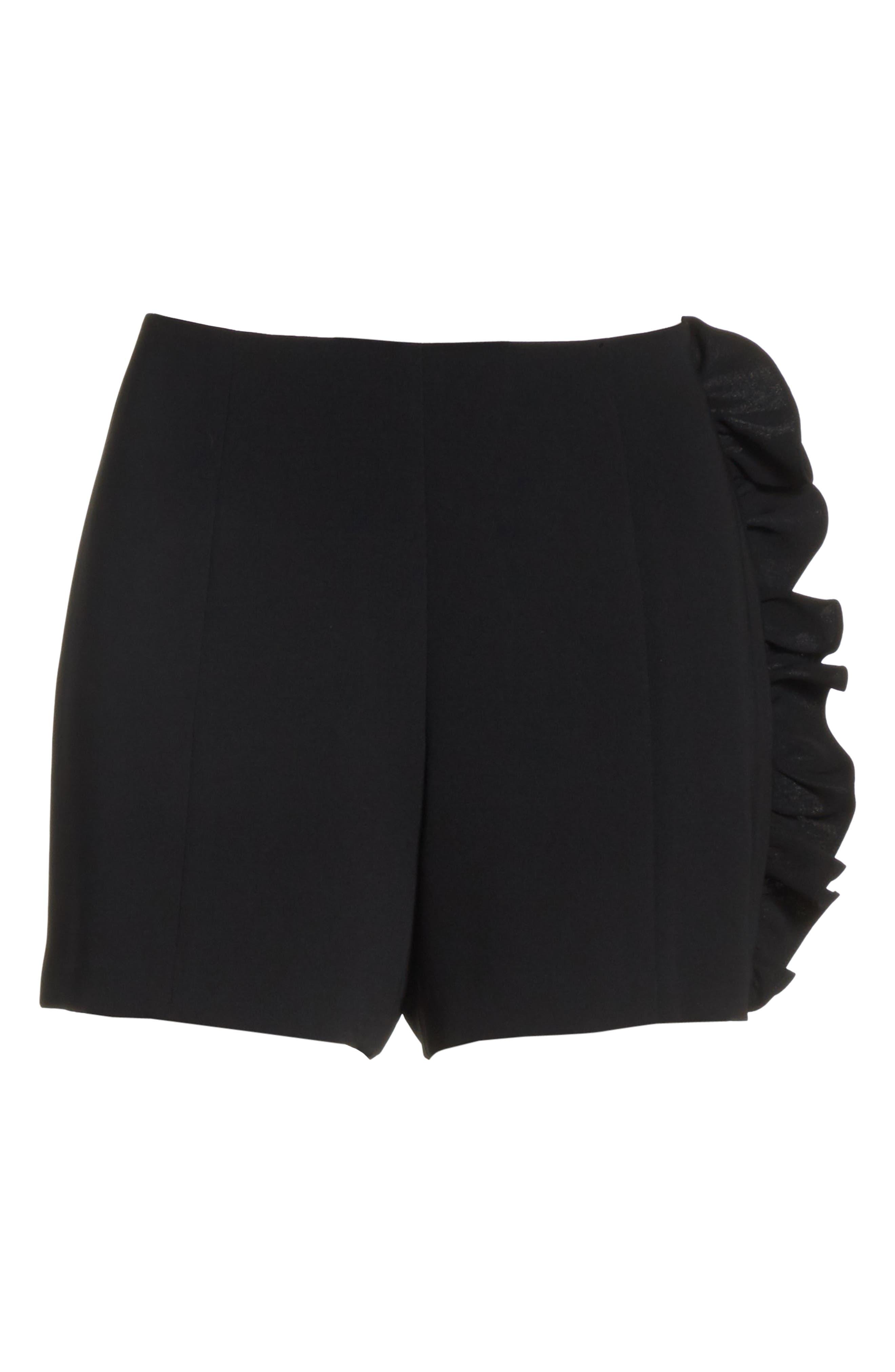 Kenzie Ruffle Side Shorts,                             Alternate thumbnail 6, color,                             001
