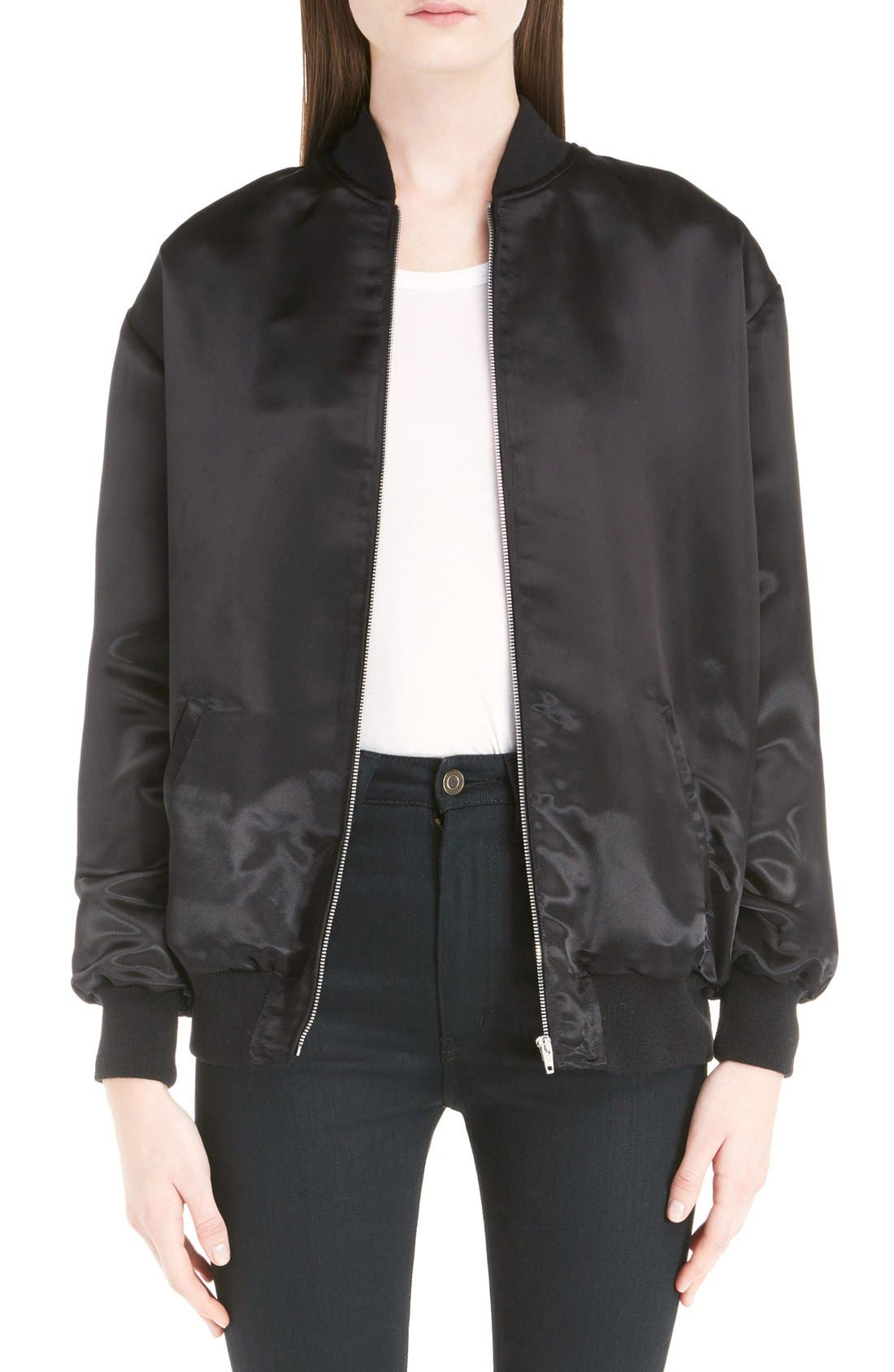 'Teddy' Oversize Patch Satin Bomber Jacket,                             Main thumbnail 1, color,                             001