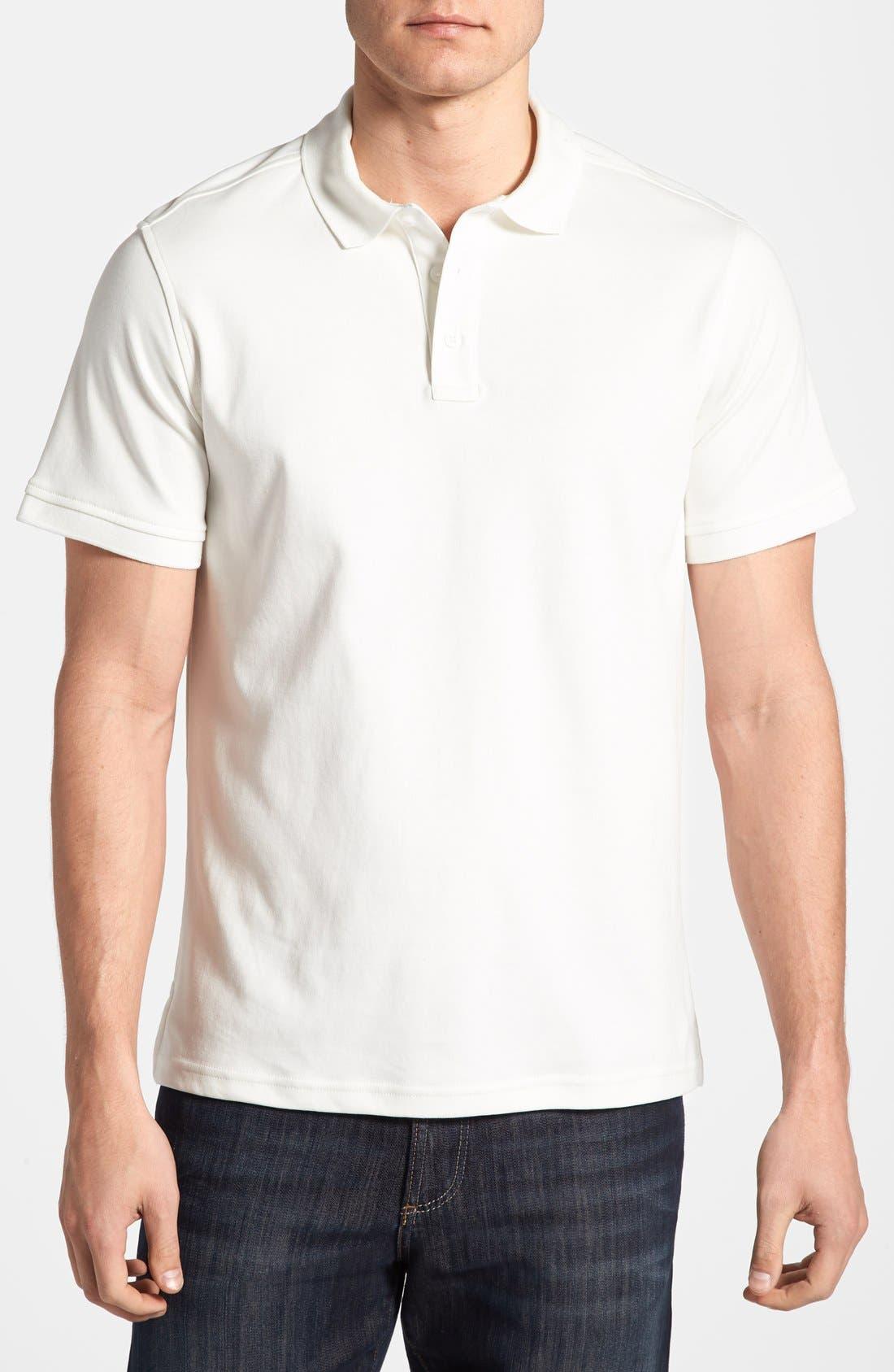 Slim Fit Interlock Knit Polo,                             Main thumbnail 1, color,                             WHITE SNOW