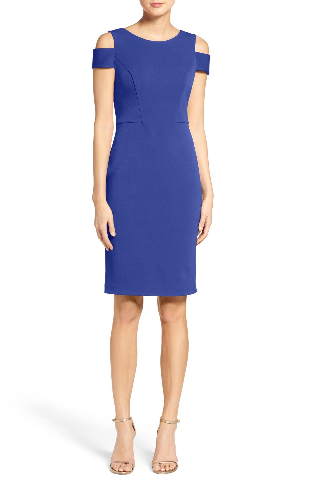 Cold Shoulder Crepe Sheath Dress,                             Main thumbnail 2, color,