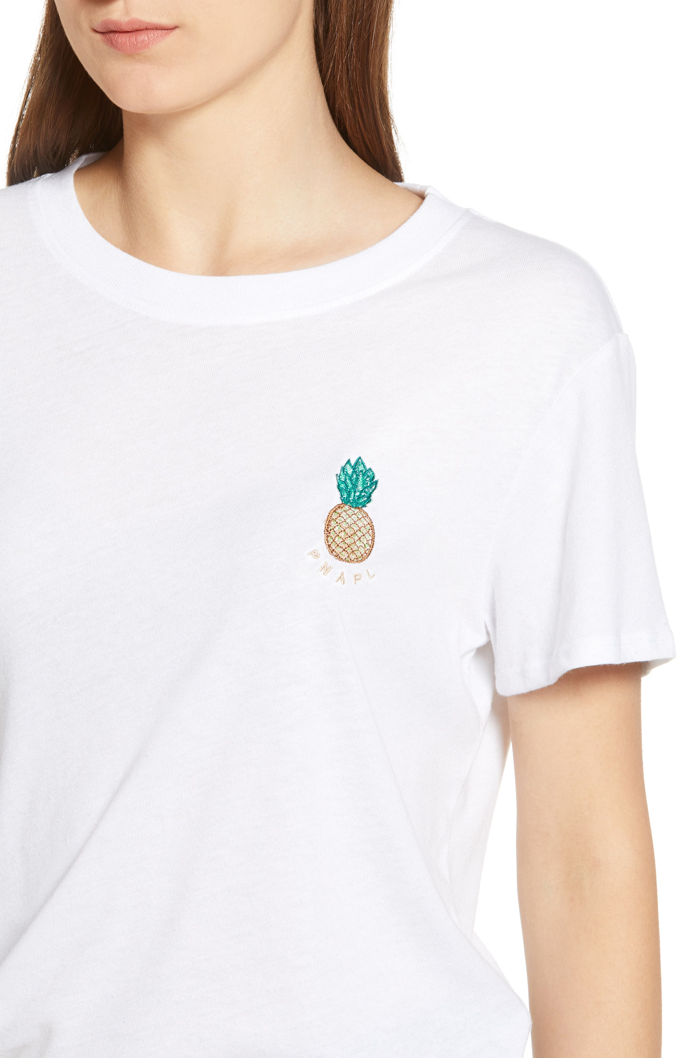 Pineapple Embellished Slouched Tee,                             Alternate thumbnail 4, color,                             WHITE