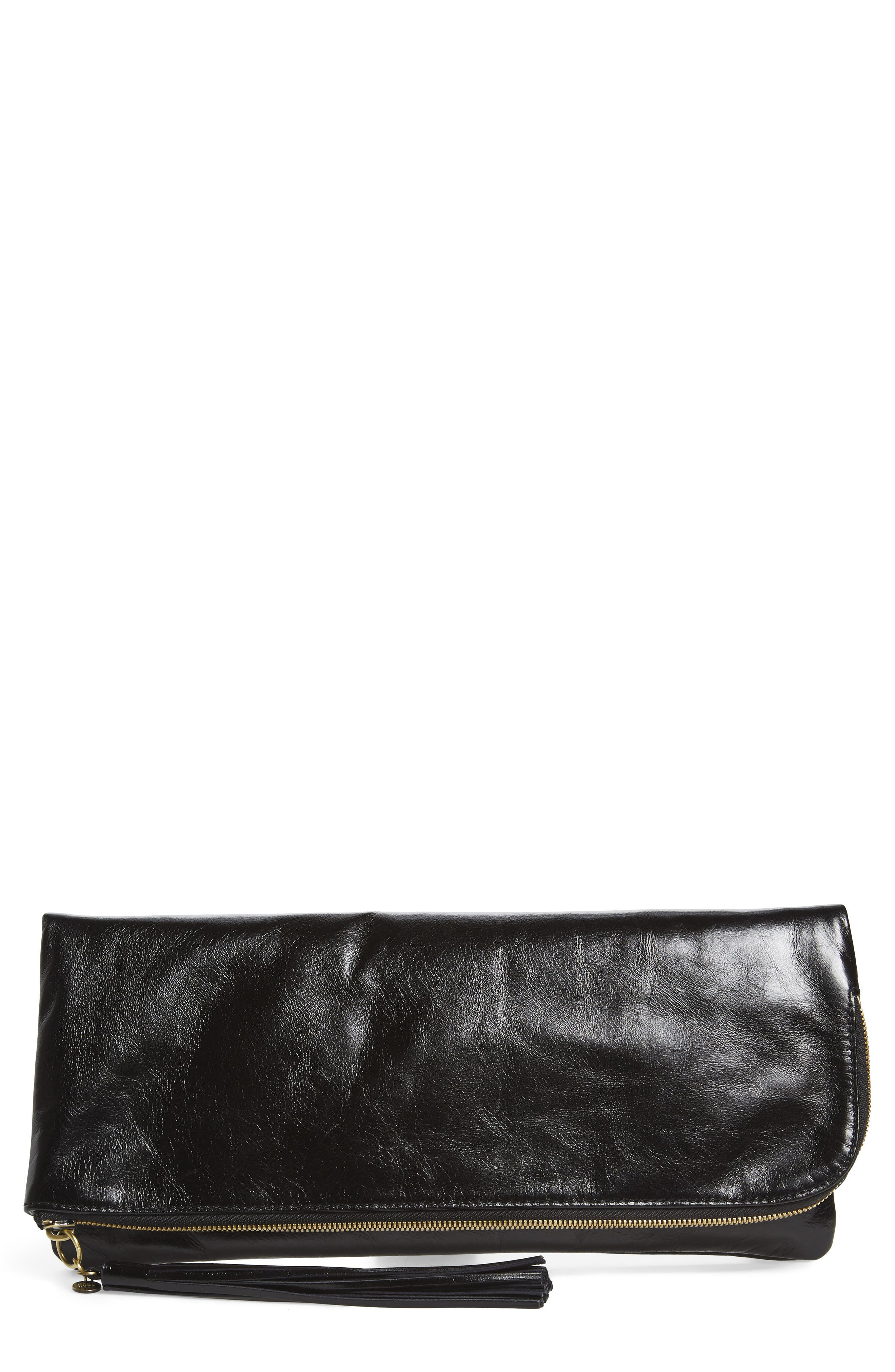 Raine Calfskin Leather Foldover Clutch,                             Main thumbnail 2, color,
