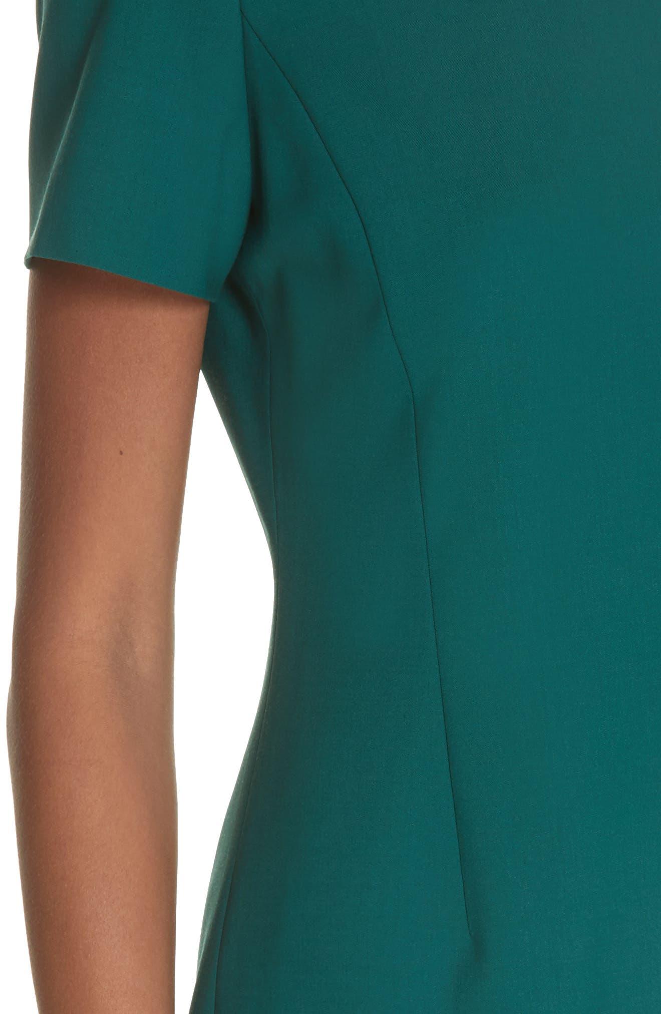 Stretch Wool A-Line Dress,                             Alternate thumbnail 4, color,                             BRIGHT POPLAR