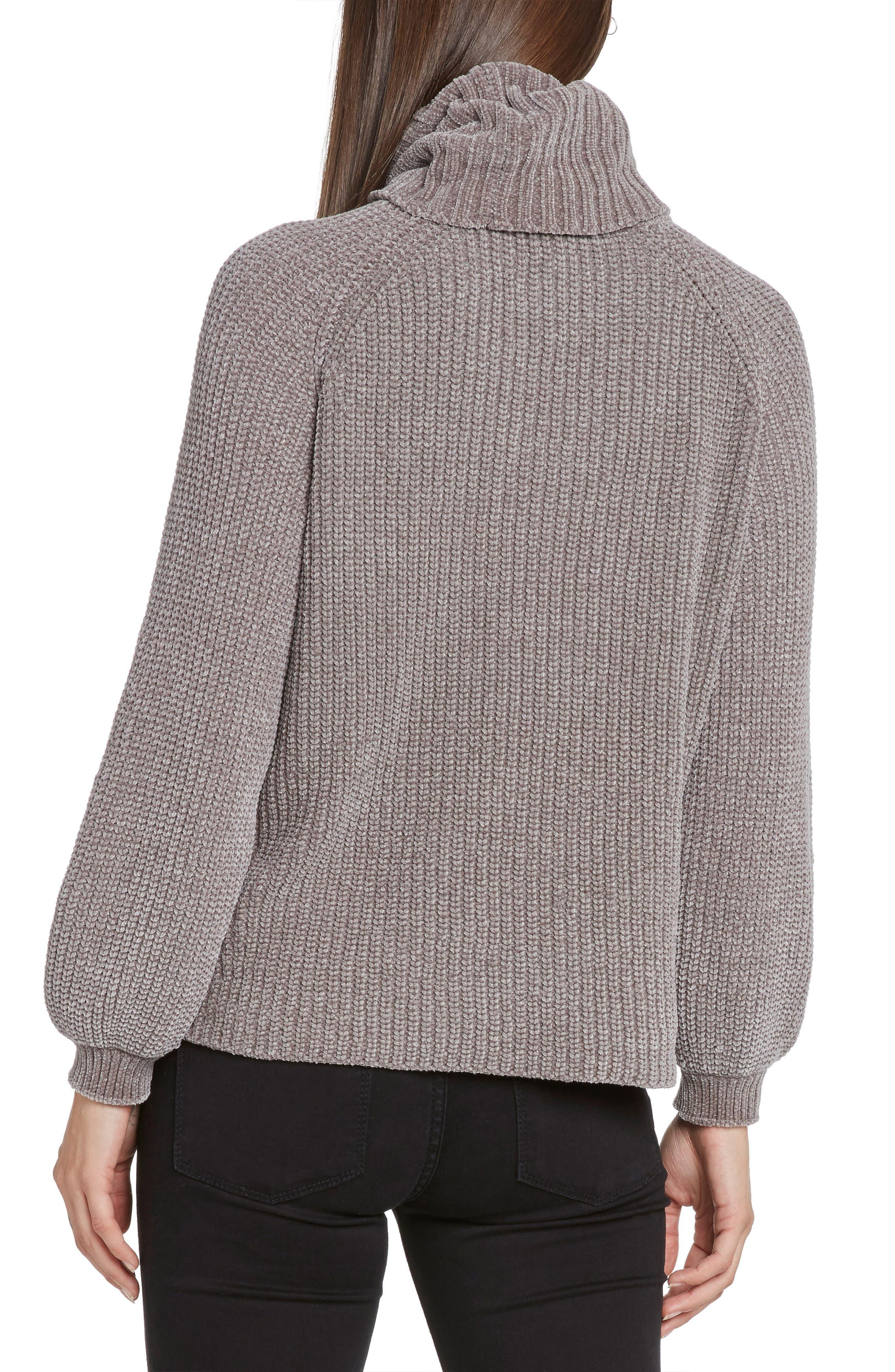 Bloused Sleeve Chenille Turtleneck Sweater,                             Alternate thumbnail 2, color,                             STONE
