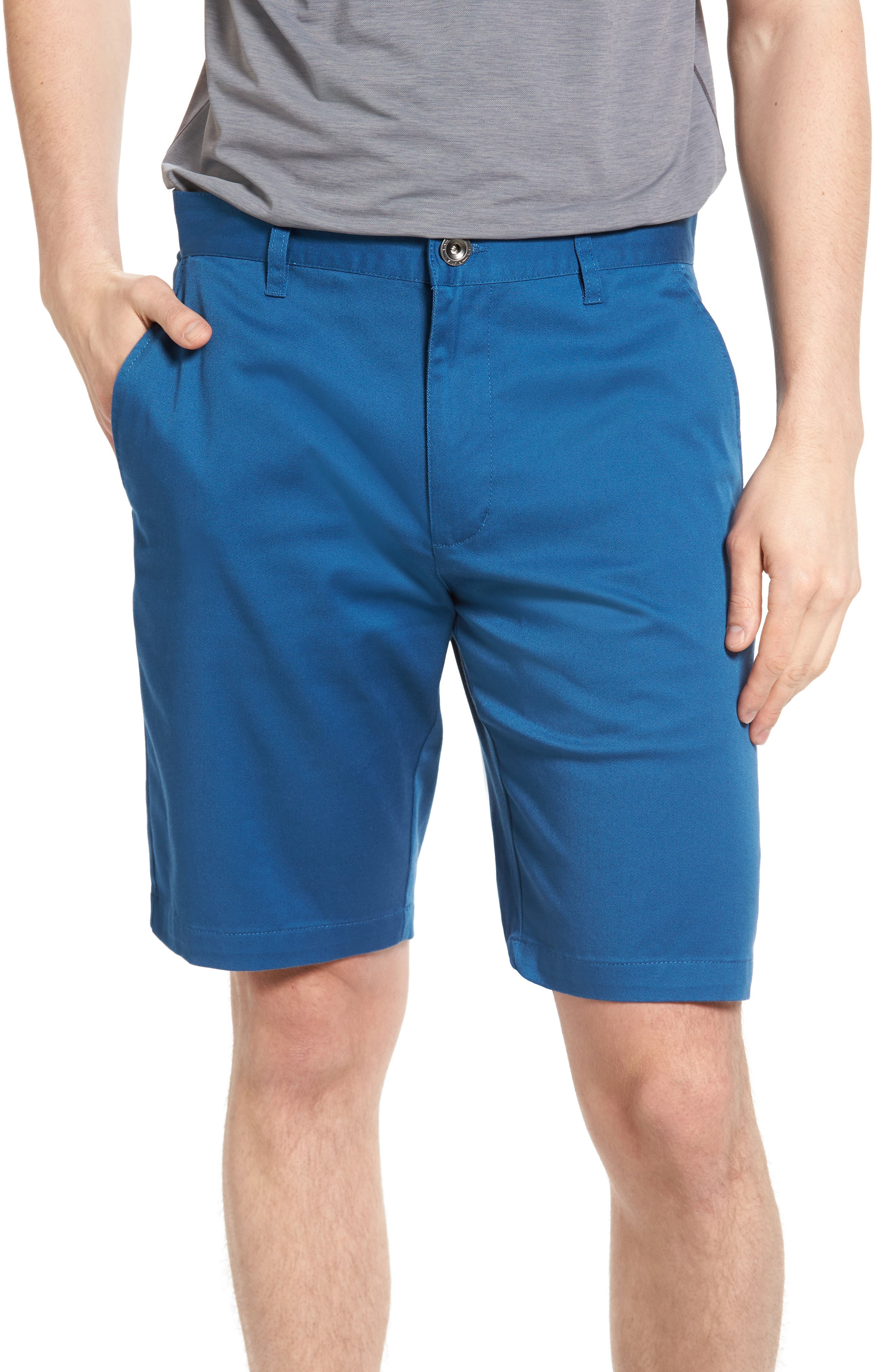 The Week-End Stretch Twill Chino Shorts,                             Main thumbnail 1, color,                             DARK BLUE