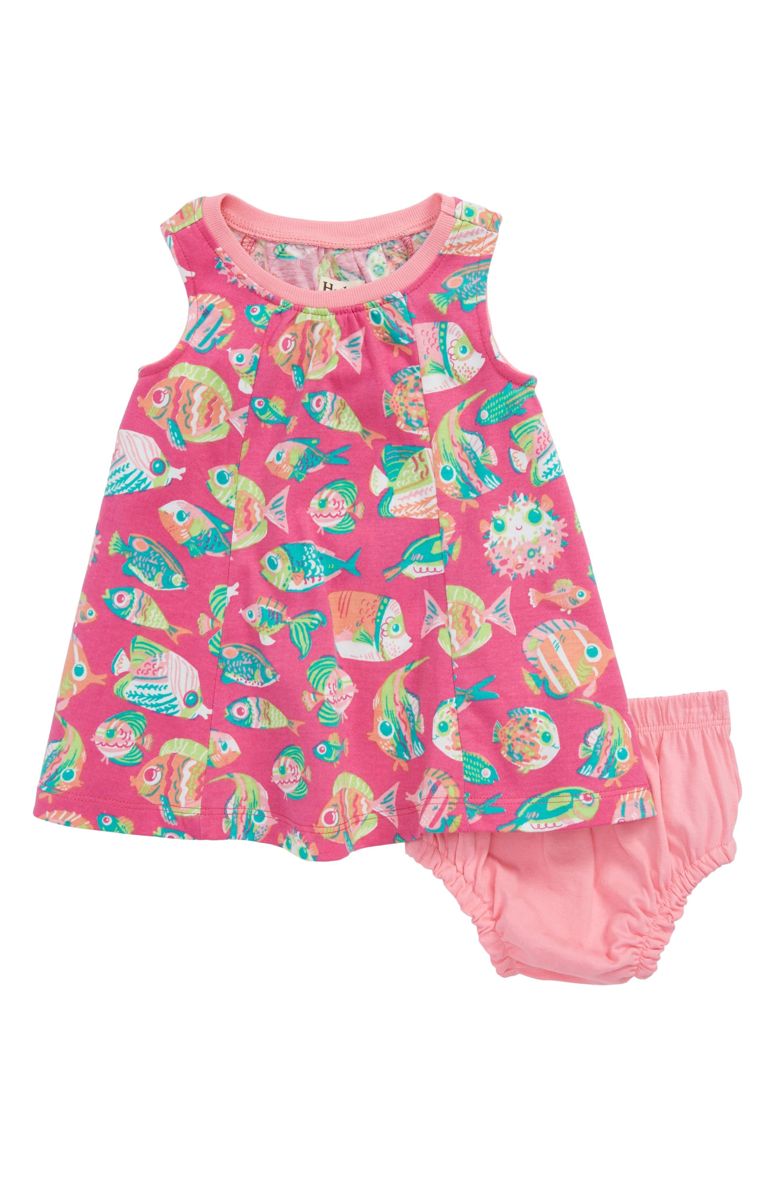 Fish Print Dress,                         Main,                         color, 650