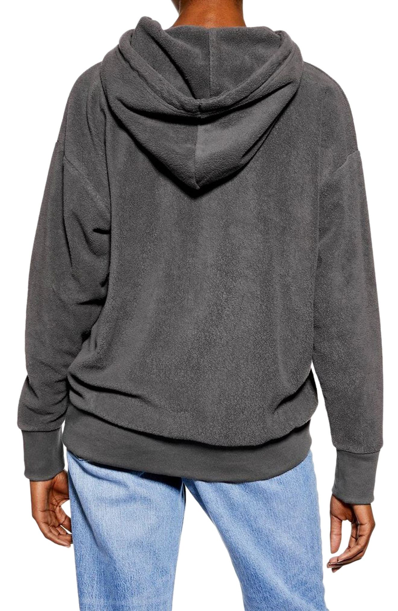 Bobbly Textured Hoodie,                             Alternate thumbnail 2, color,                             CHARCOAL