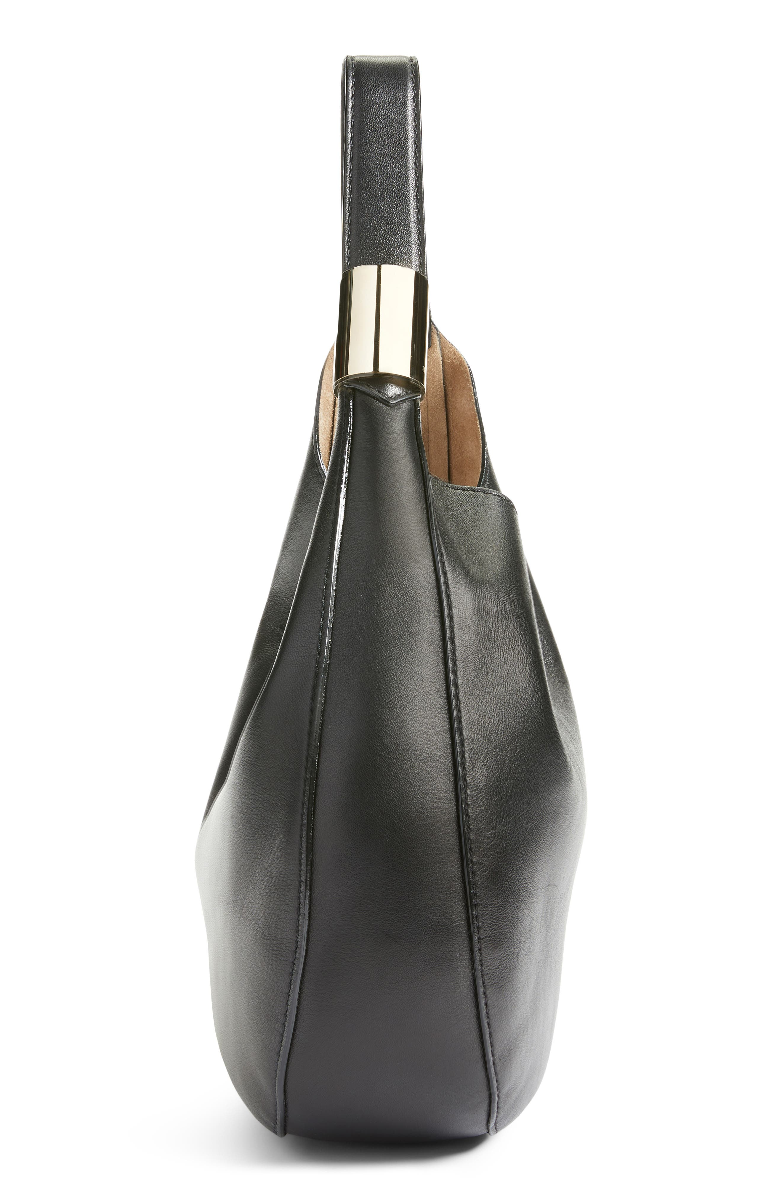 Stevie Lambskin Leather Hobo,                             Alternate thumbnail 5, color,                             BLACK