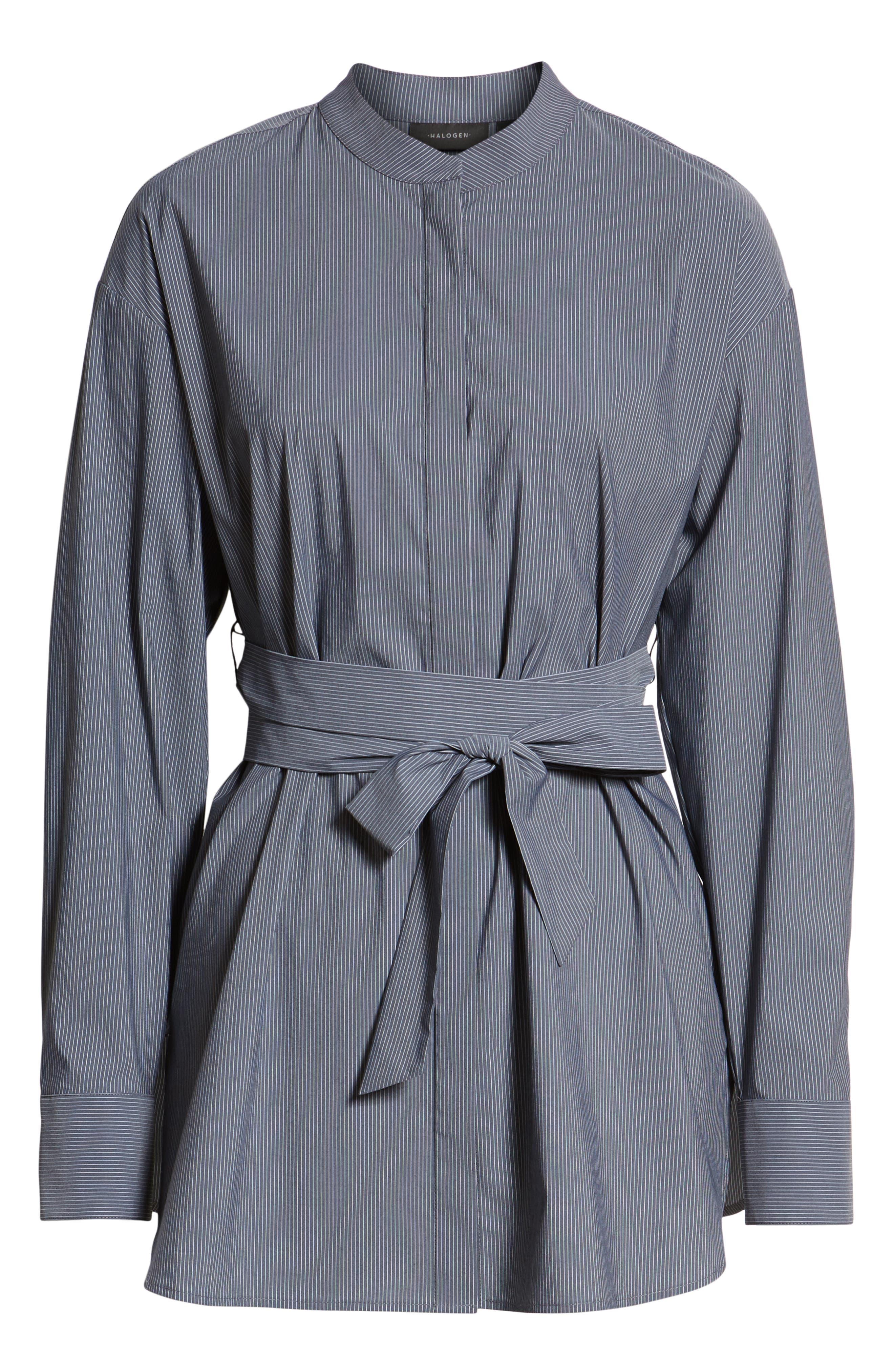 Belted Poplin Shirt,                             Alternate thumbnail 6, color,                             001