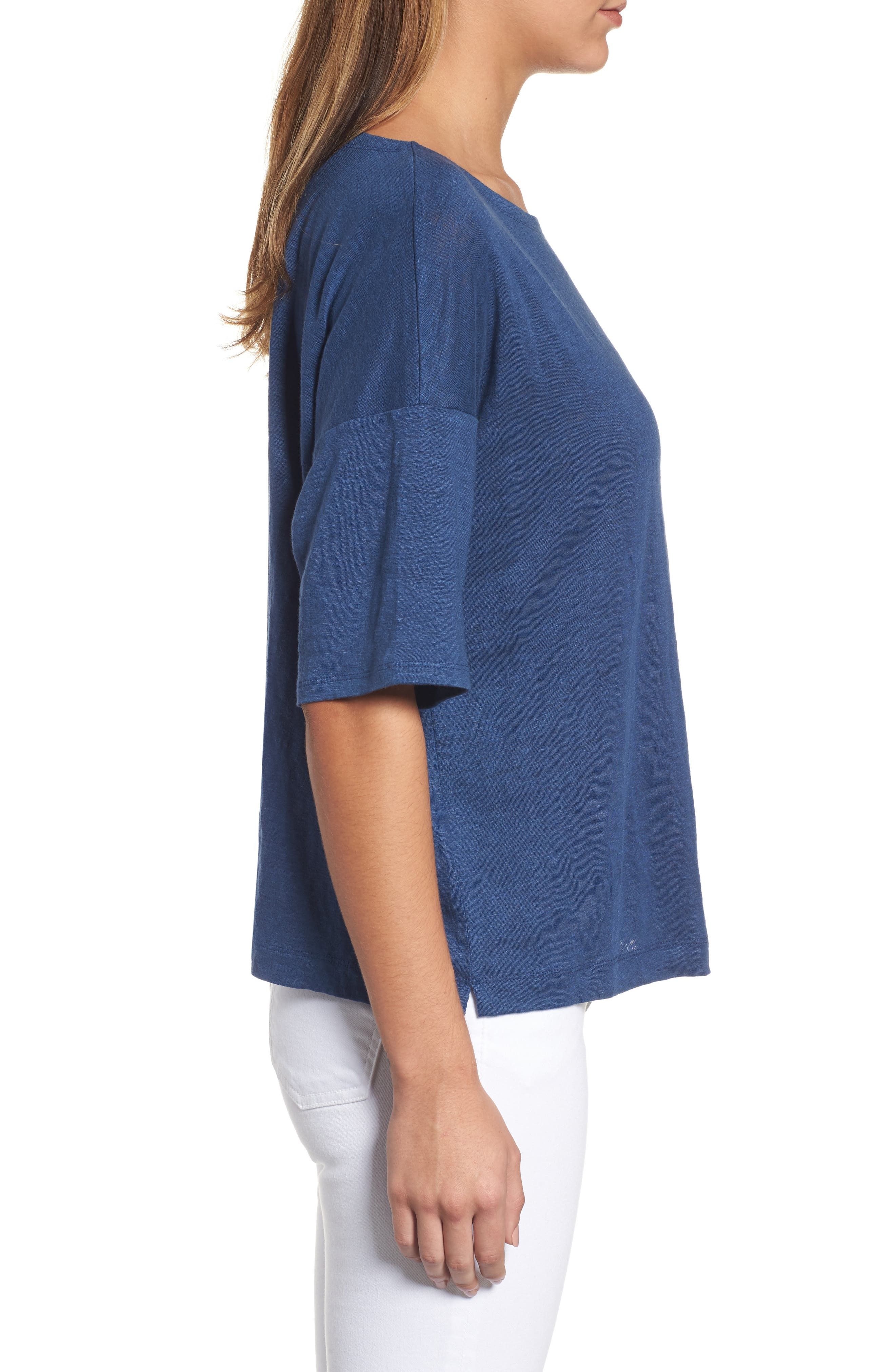 Organic Linen Jersey Boxy Top,                             Alternate thumbnail 19, color,