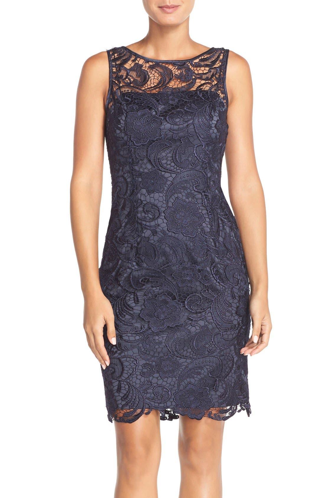 Illusion Bodice Lace Sheath Dress,                             Main thumbnail 6, color,