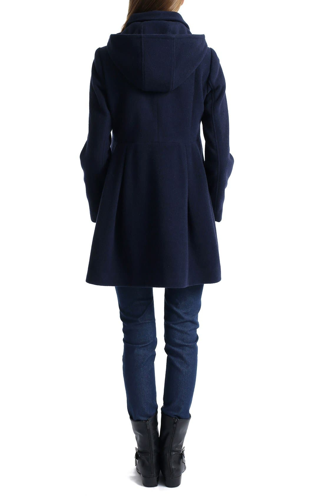 Faye Hooded Maternity Peacoat,                             Alternate thumbnail 2, color,                             NAVY