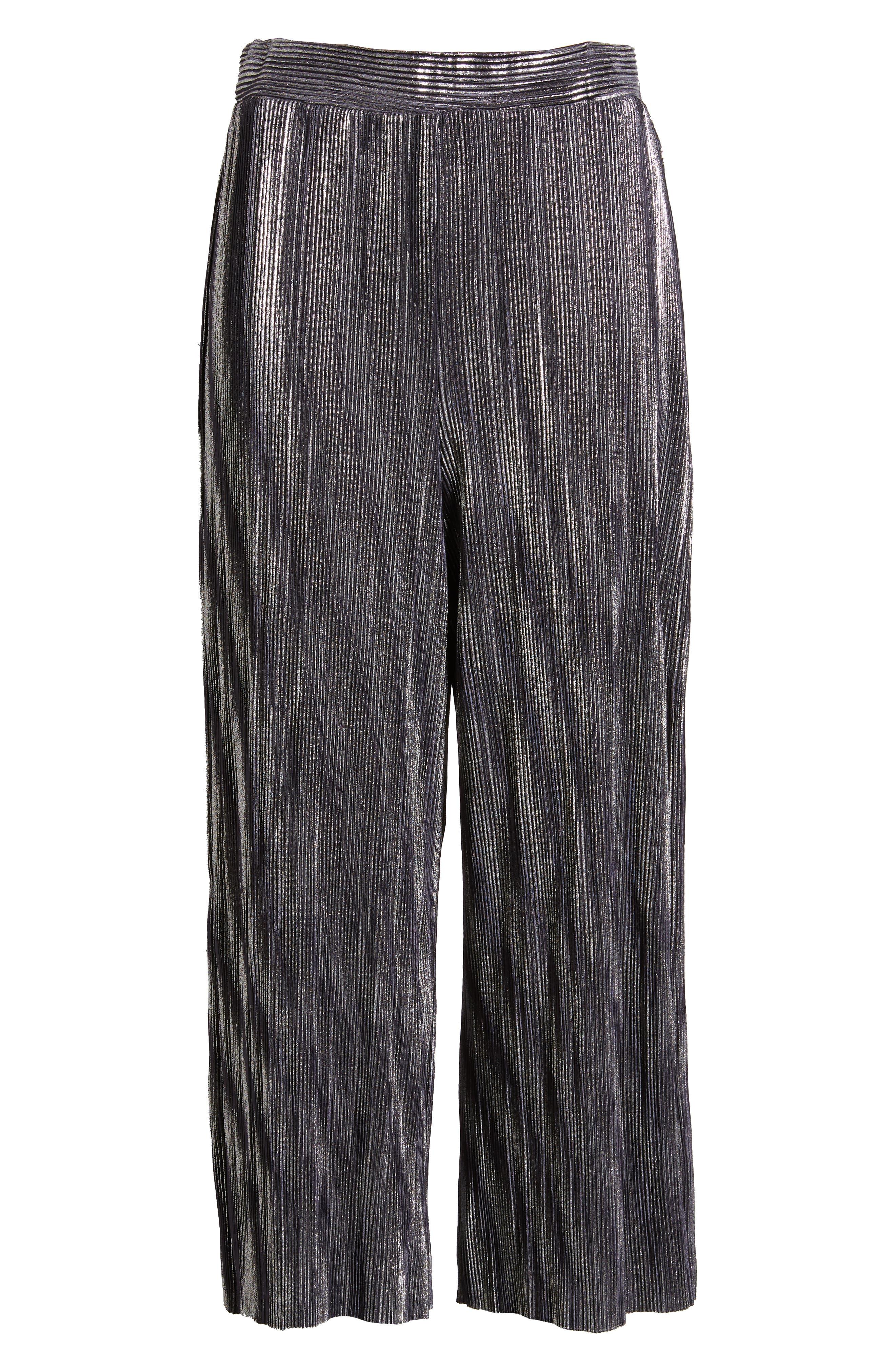 Metallic Mini Pleat Gaucho Crop Pants,                             Alternate thumbnail 6, color,                             SILVER