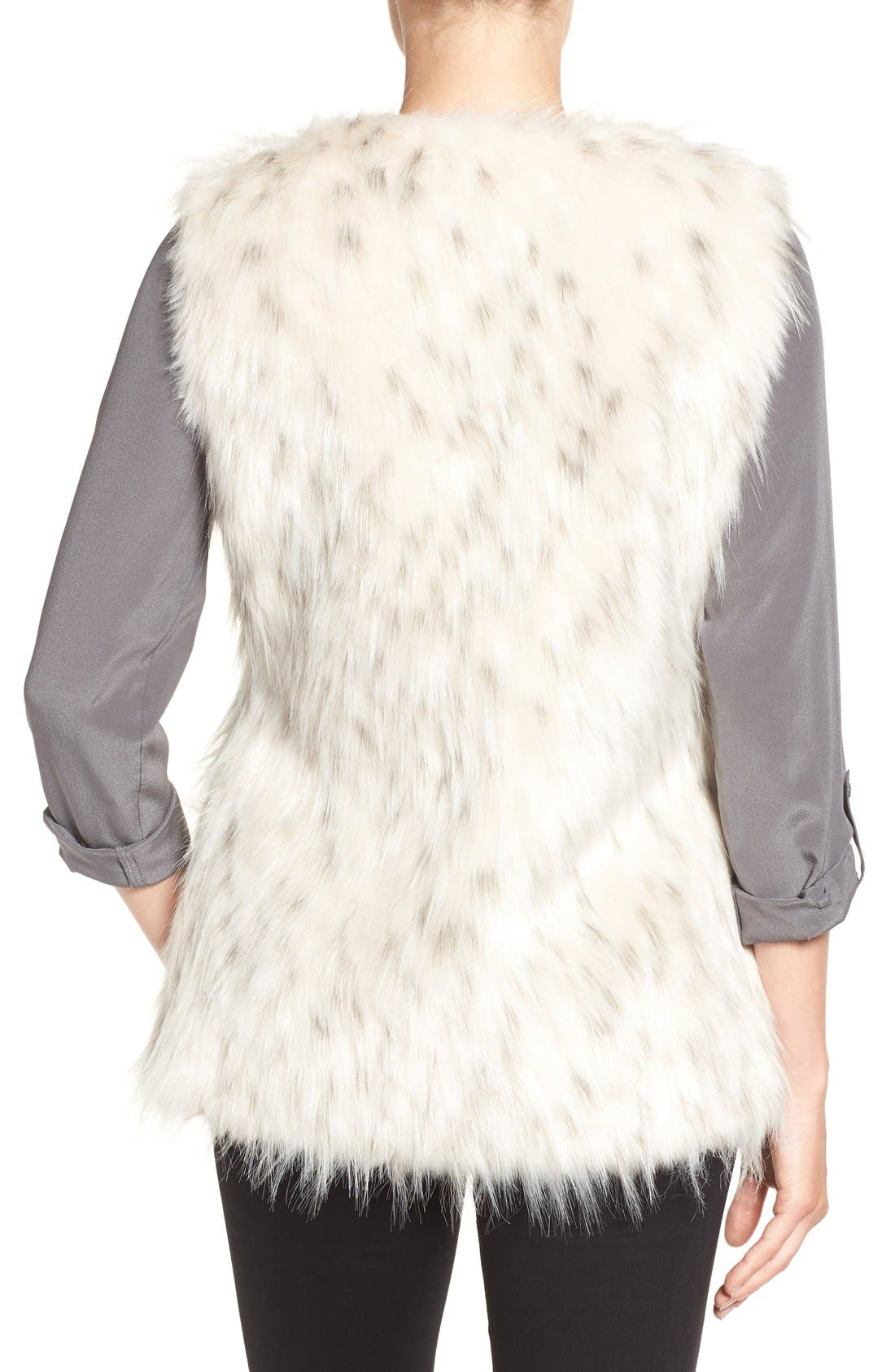 Collarless Faux Fur Vest,                             Alternate thumbnail 2, color,