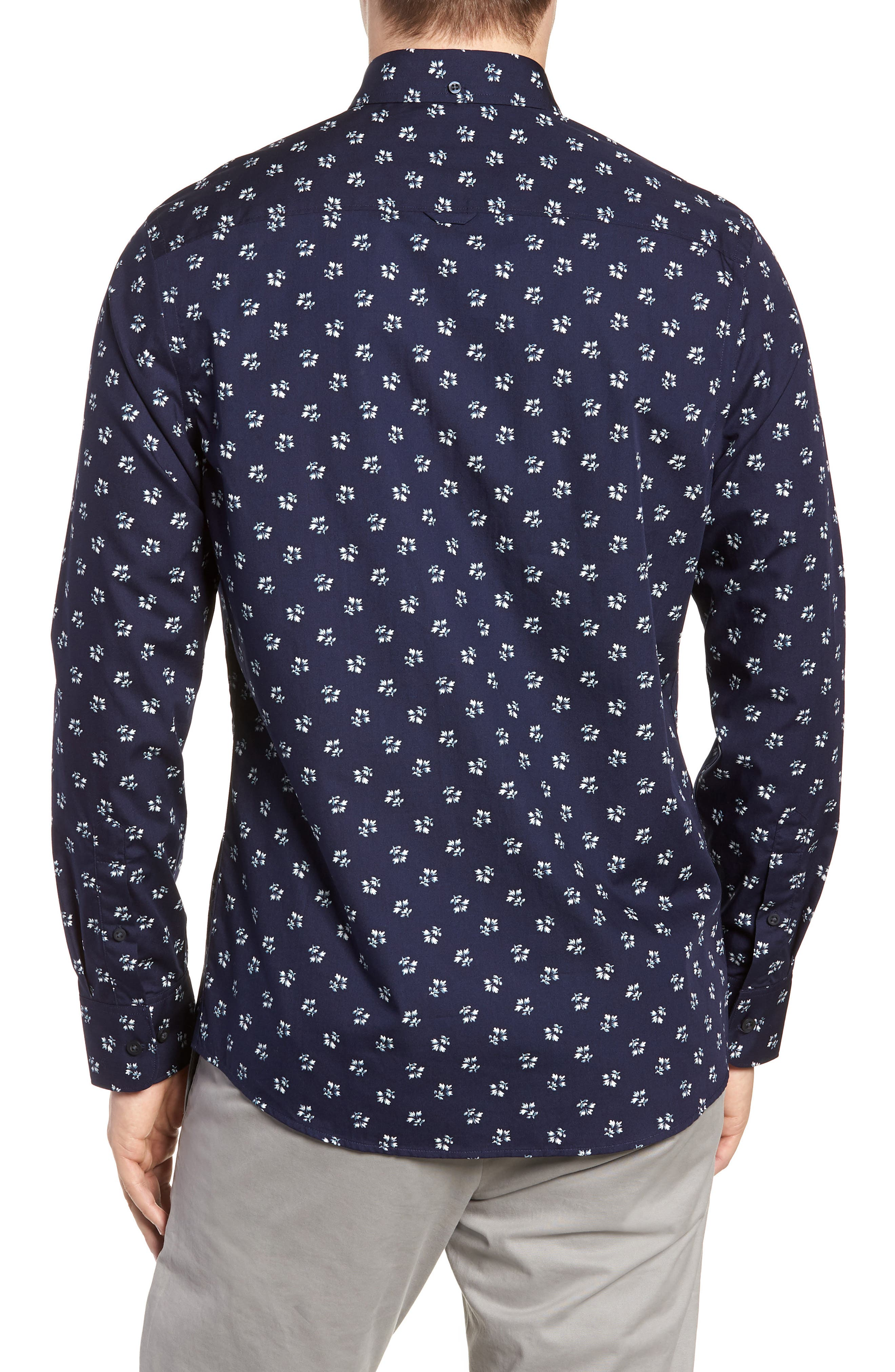 Trim Fit Non-Iron Print Sport Shirt,                             Alternate thumbnail 2, color,                             NAVY NIGHT FLORAL PRINT