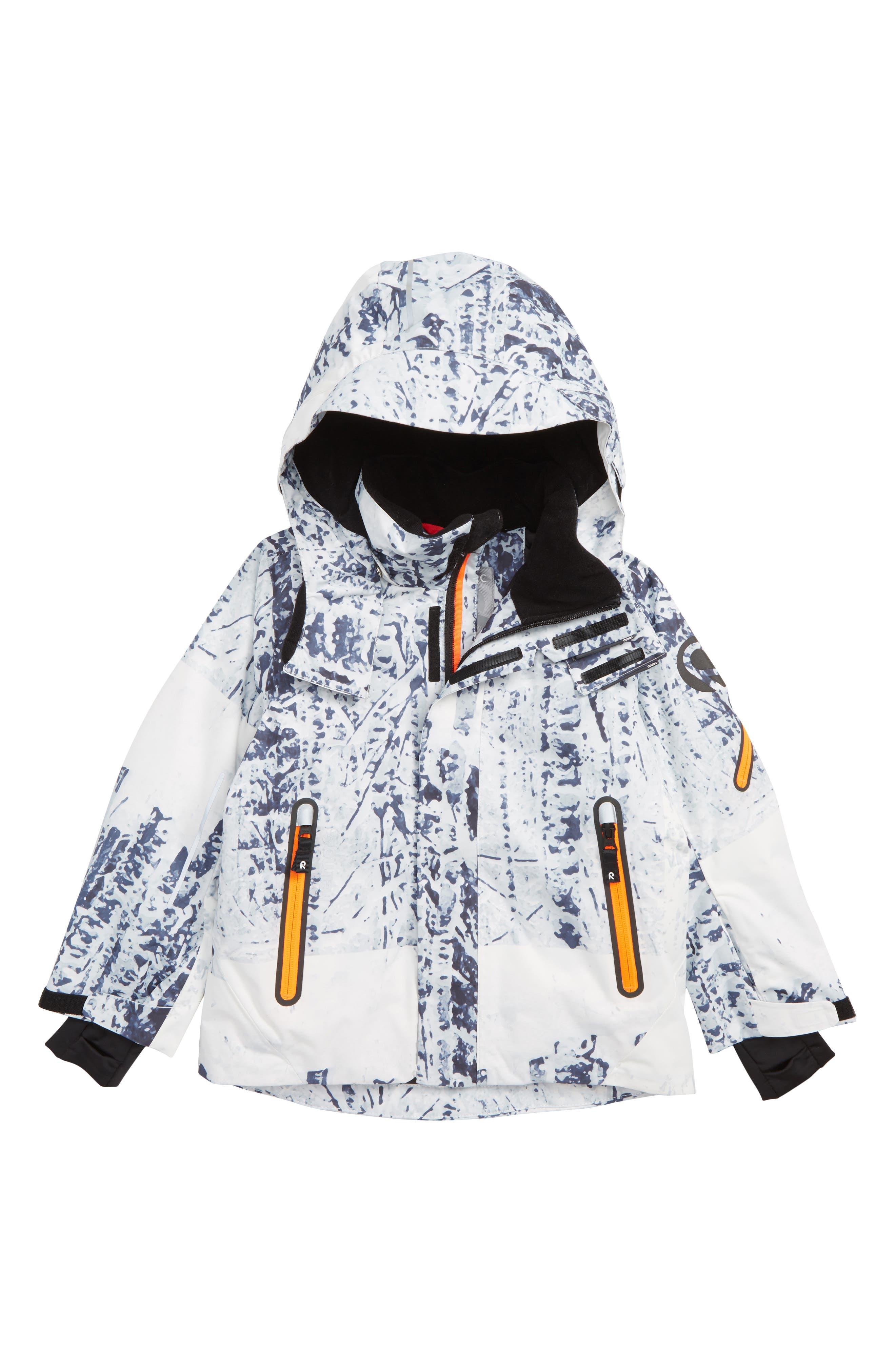 Reimatec<sup>®</sup> Wheeler Waterproof Hooded Jacket,                         Main,                         color, WHITE PRINT