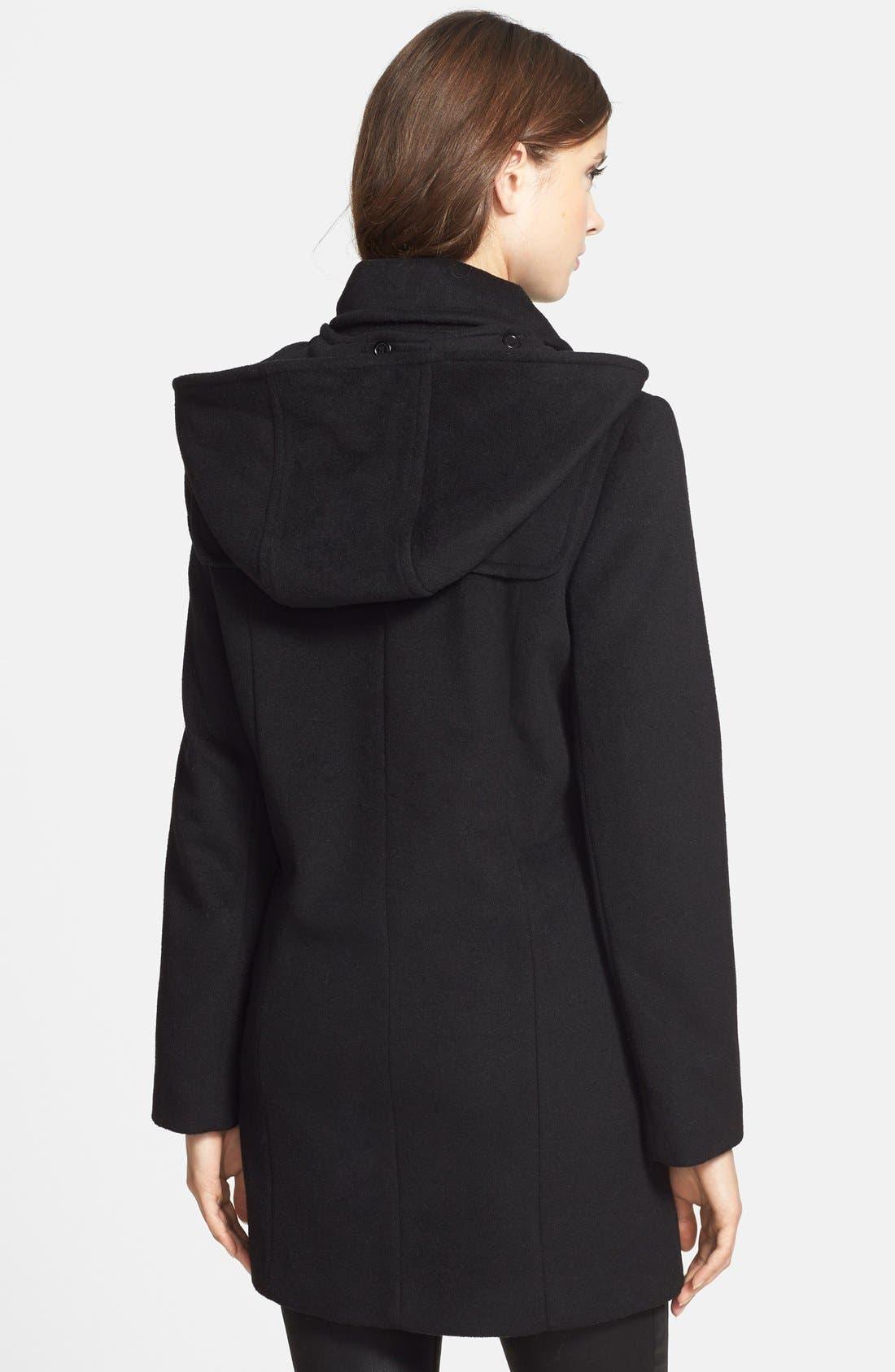 Removable Hood Wool Blend Duffle Coat,                             Alternate thumbnail 2, color,                             001