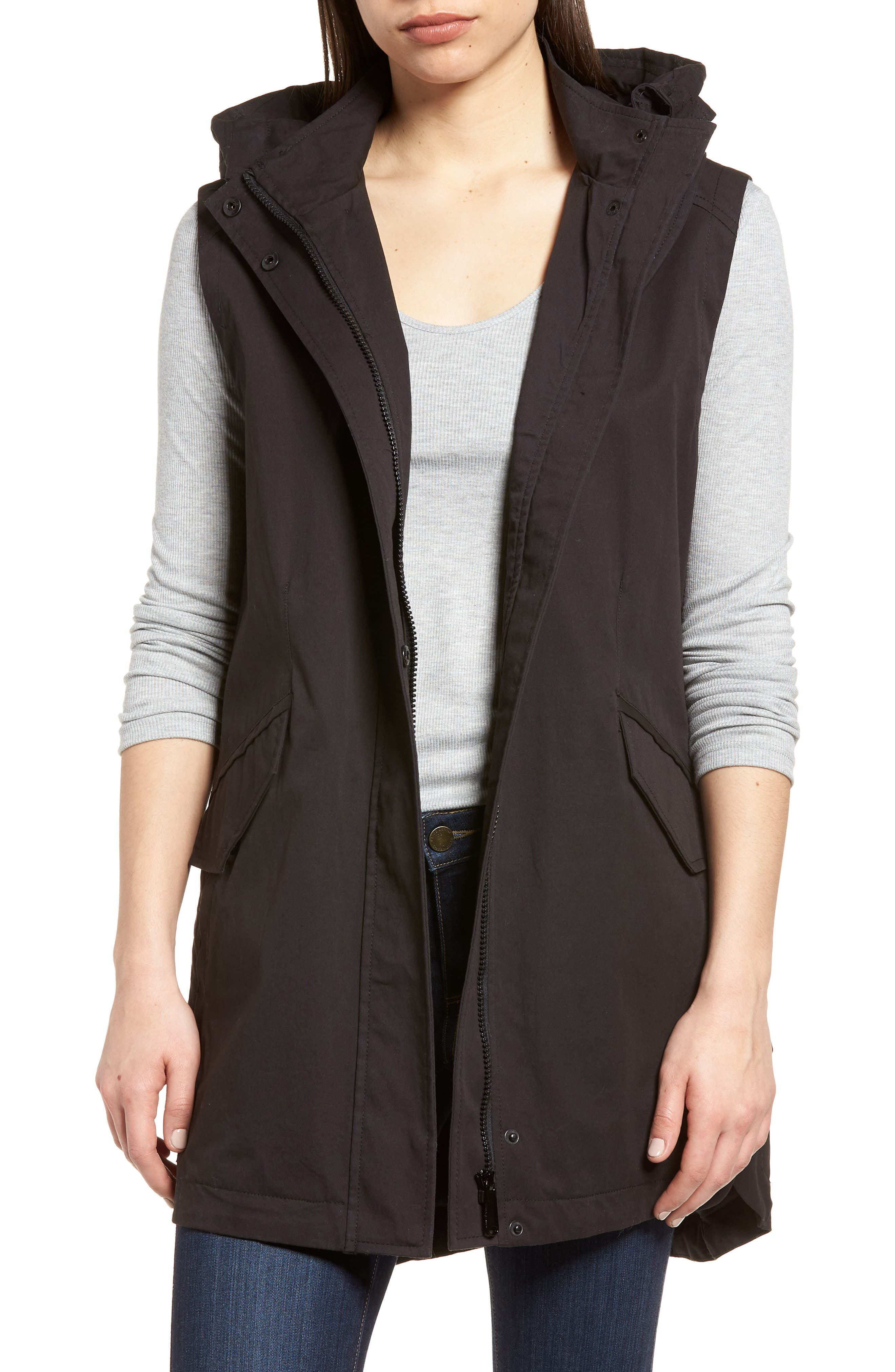 Elongated Hooded Vest,                             Main thumbnail 1, color,                             001