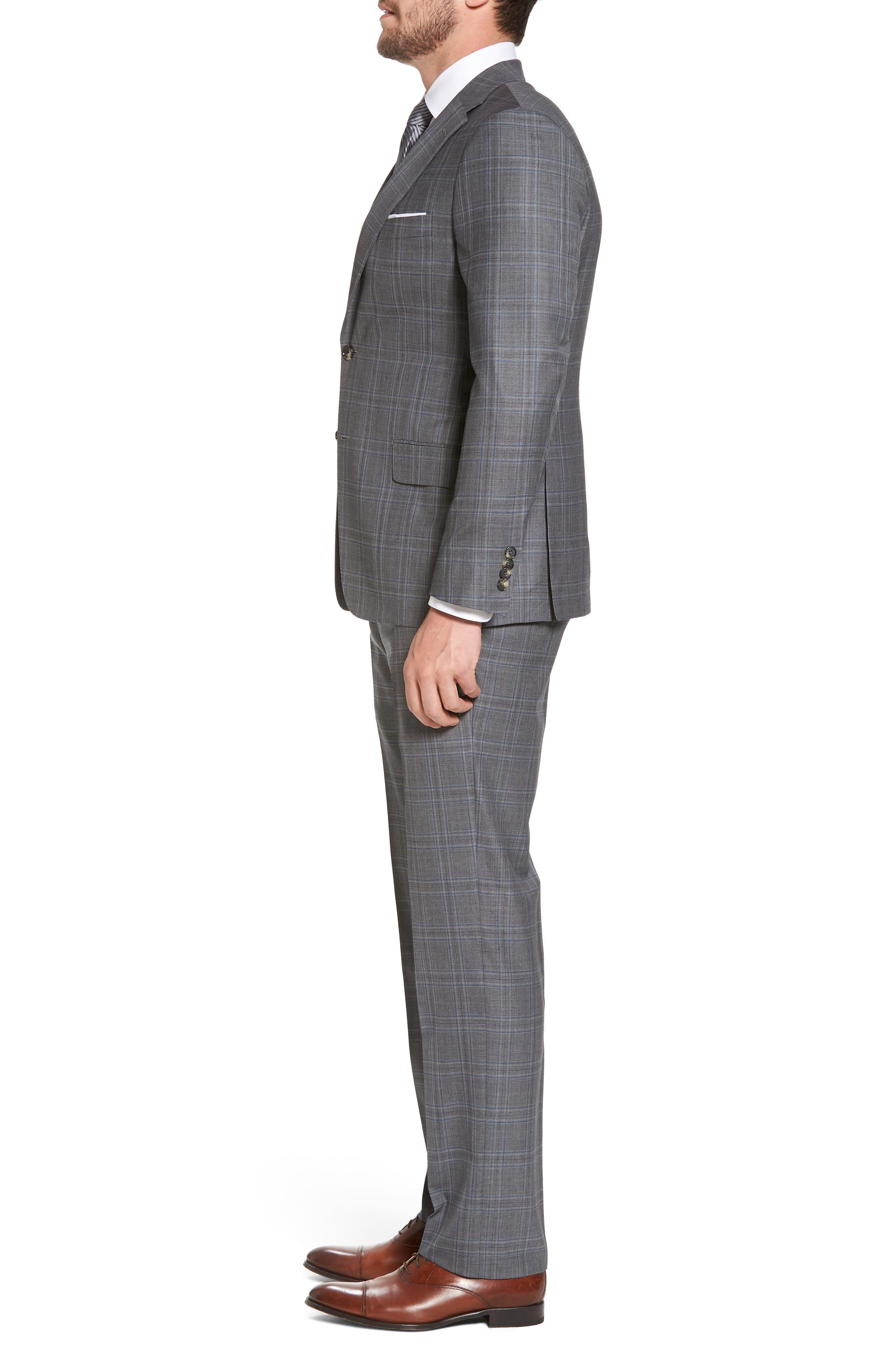 Classic B Fit Plaid Wool Suit,                             Alternate thumbnail 3, color,                             060